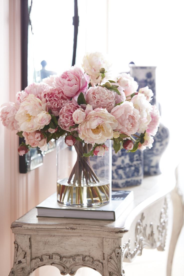 Vase and Flowers for Living Room Of Beautiful Pink Peonies In Clear Vase for A Romantic Space From Pertaining to Beautiful Pink Peonies In Clear Vase for A Romantic Space From Ethan Allen