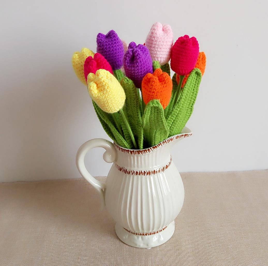 Vase for Long Stem Flowers Of Bouquet 2016 New Style Handmade Diy Knitting Wool Artificial Tulip with Bouquet 2016 New Style Handmade Diy Knitting Wool Artificial Tulip Home Decorative Flower Diy Decorative Flower Artificial Tulip Home Decoration Online