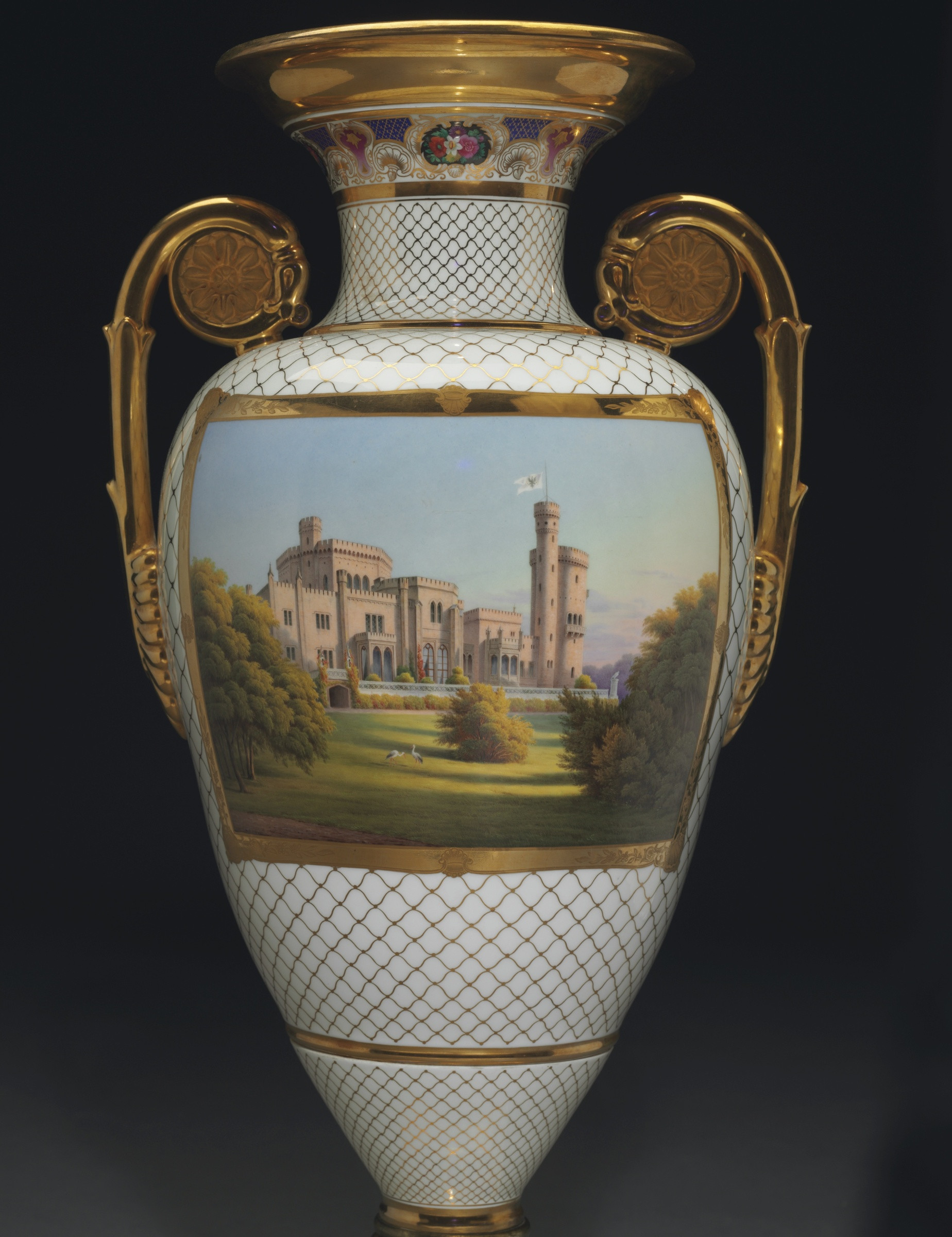 vase made in germany of k p m ka¶nigliche porzellan manufaktur berlin a highly important regarding a highly important classical armorial and topographical three piece vase garniture from the meiningen