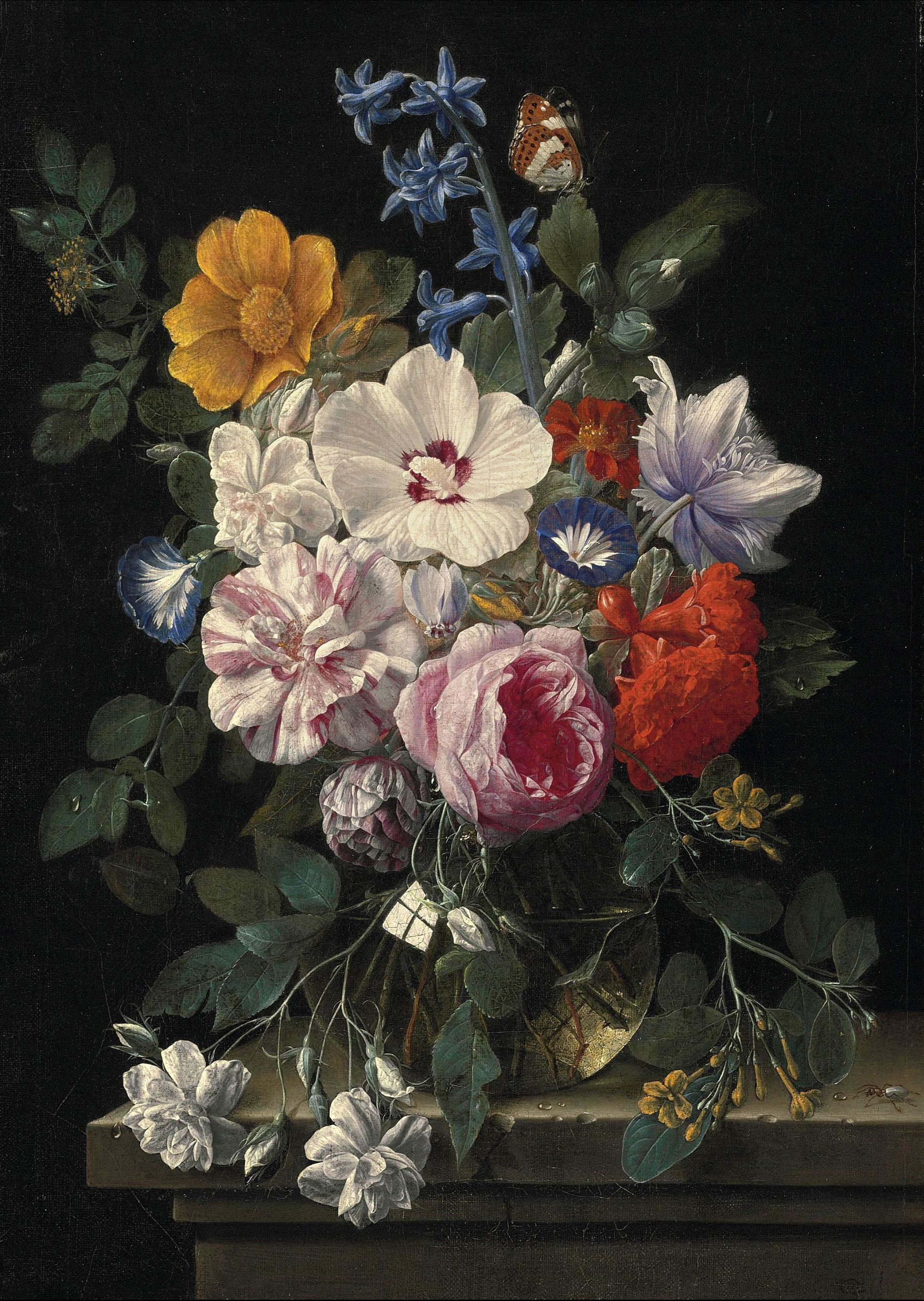 vase of flowers de heem of nicolaes van veerendael flowers in a glass vase butterfly and within nicolaes van veerendael flowers in a glass vase butterfly and beetle on a stone ledge 17th century