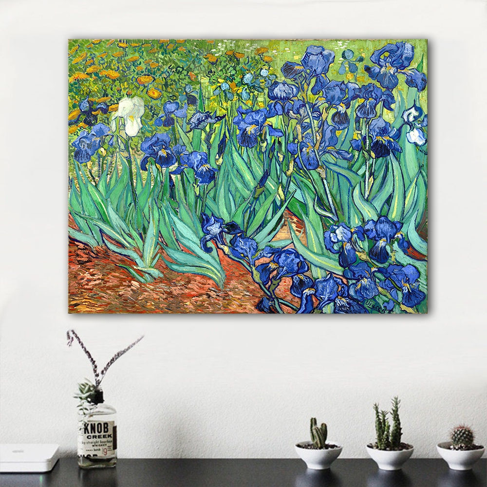 vase of irises of hdartisan impressionist canvas art van gogh irises 1889 modern wall regarding hdartisan impressionist canvas art van gogh irises 1889 modern wall pictures for living room home decor frameless in painting calligraphy from home