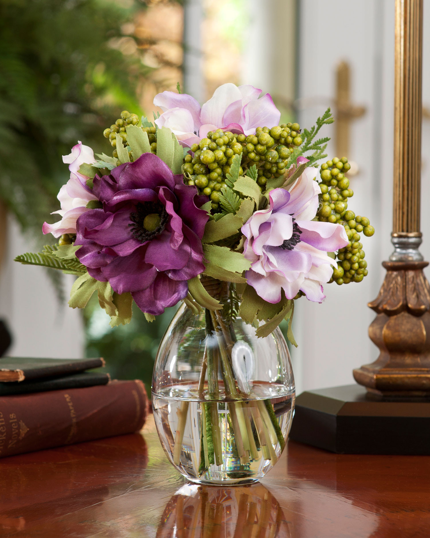 vase of lavender of purple silk flowers in vase flowers healthy intended for berry and anemone accent in lavender purple with green berries in a shapely gl vase berry anemone silk flower accent arrangment at petals