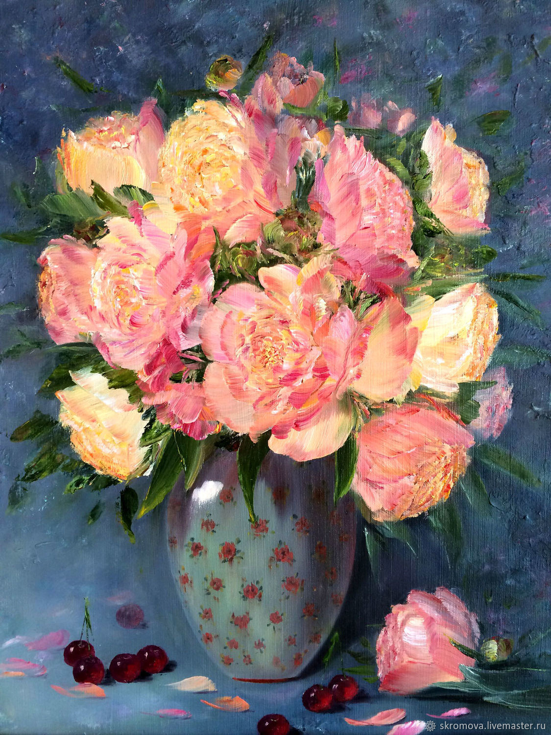 vase of peonies of oil painting peonies in a porcelain vase shop online on livemaster pertaining to oil painting peonies in a porcelain vase zabaikalie online shopping