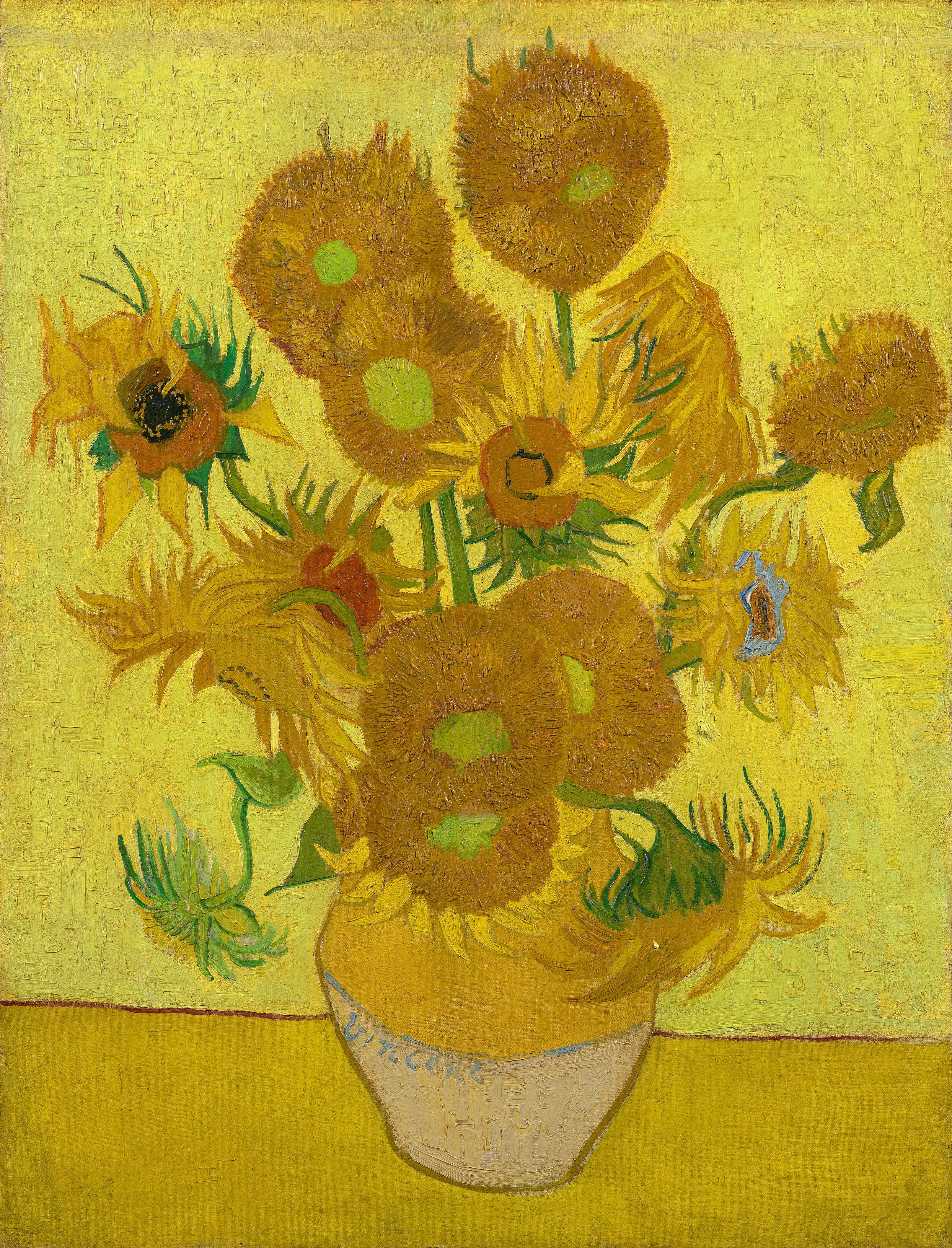 vase of sunflowers henri matisse of vincent van gogh wikipedia in a ceramic vase with sunflowers on a yellow surface against a bright yellow background