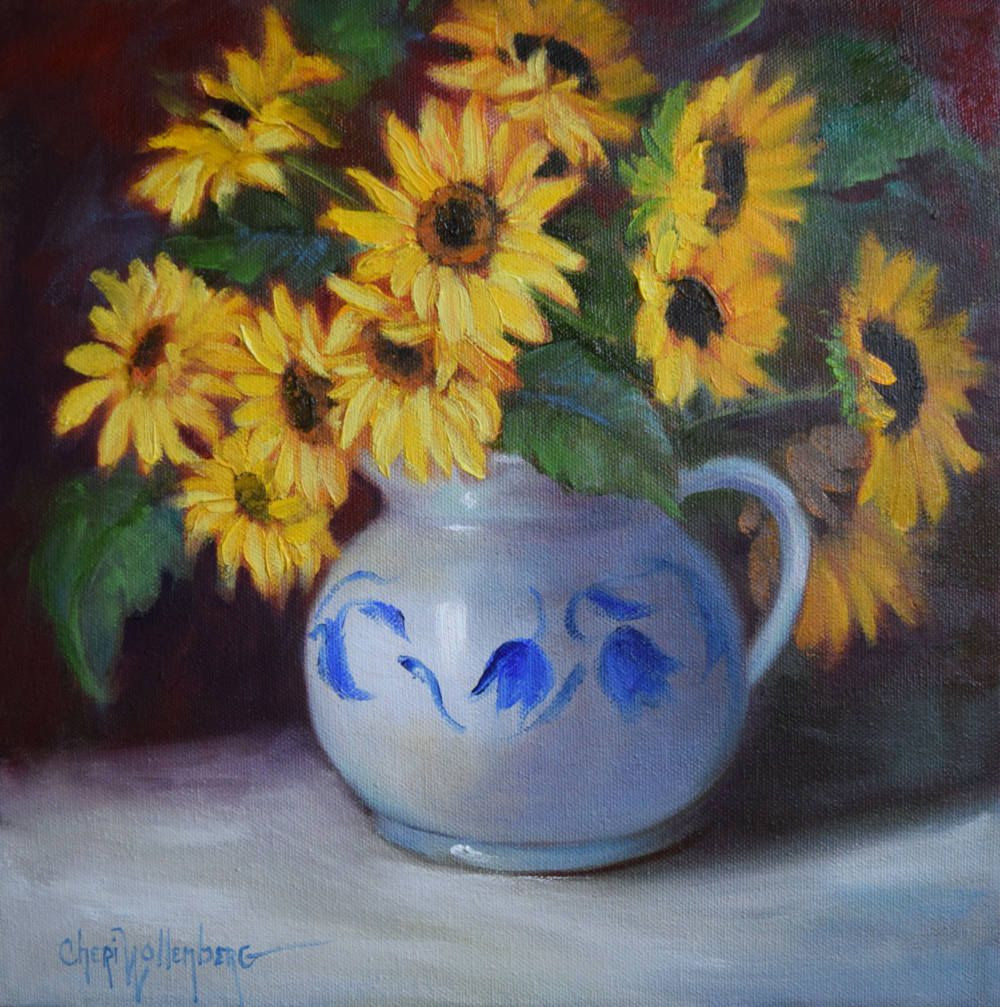 vase of sunflowers painting of sunflower still lifesunflower bouquet in blue and white pitcher pertaining to sunflower still lifesunflower bouquet in blue and white pitcheroriginal oil painting on