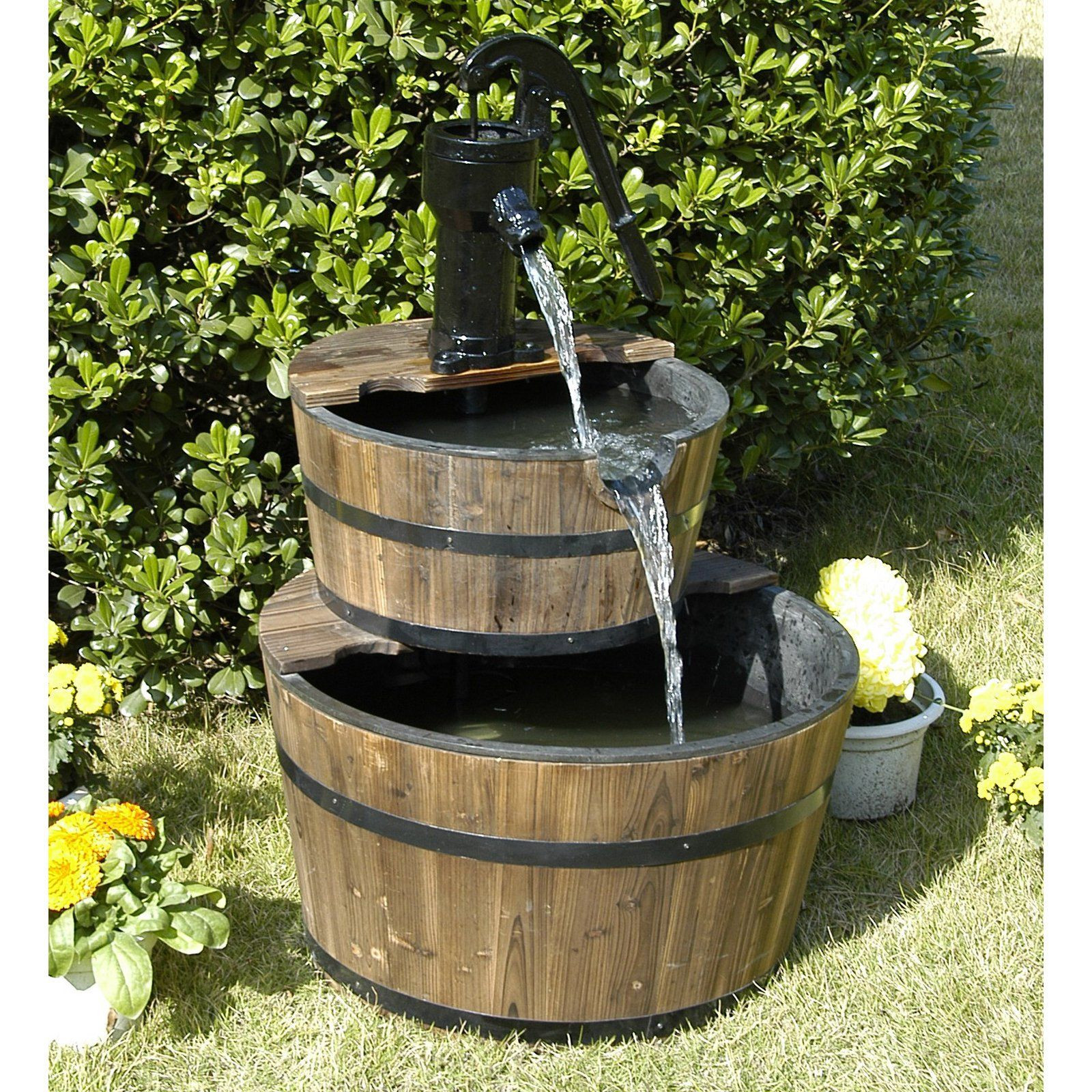 vase water fountain outdoor of hgc 2 tier wood barrel outdoor fountain bring the serenity and inside hgc 2 tier wood barrel outdoor fountain bring the serenity and peace of running water to your home with the hgc 2 tier wood barrel outdoor fountain
