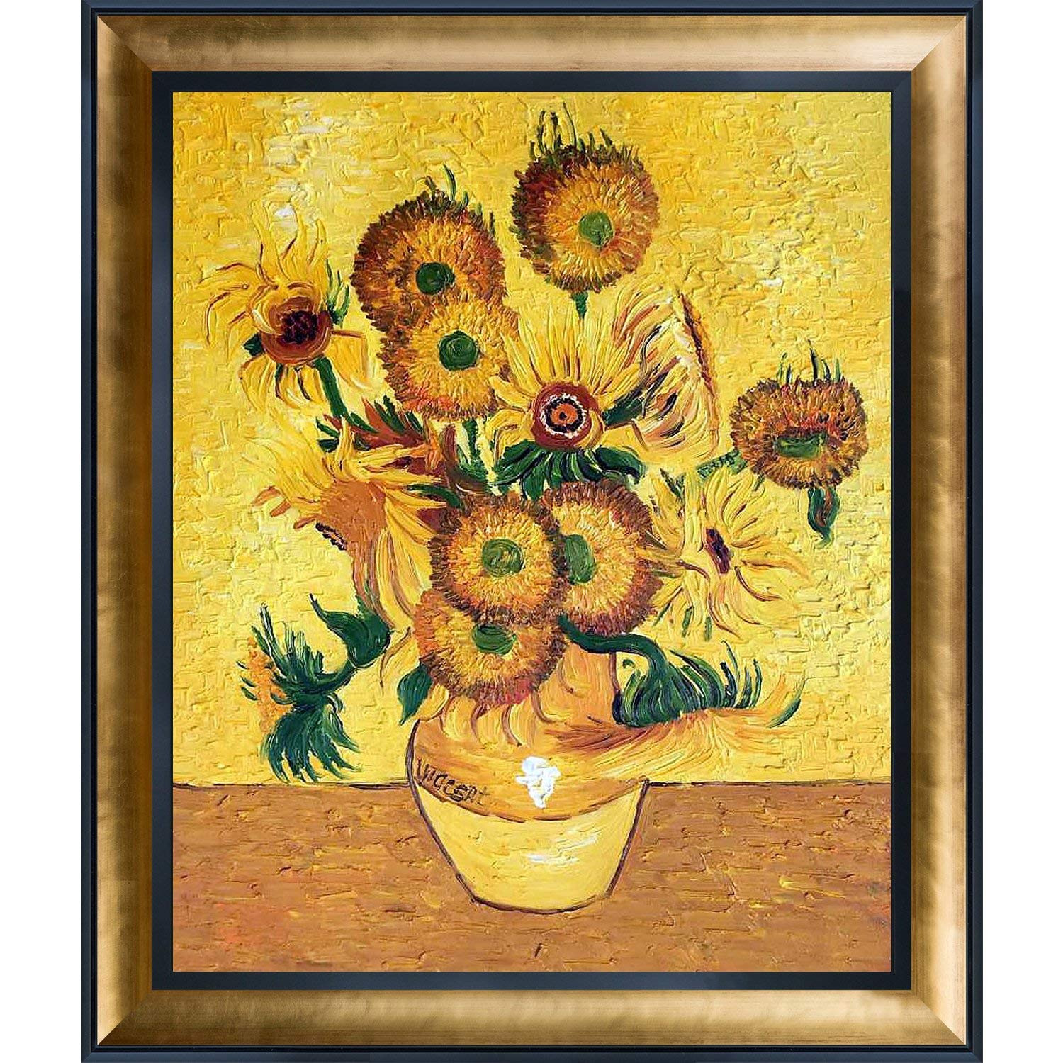 vase with fifteen sunflowers of amazon com overstockart vase with fifteen sunflowers artwork by with amazon com overstockart vase with fifteen sunflowers artwork by vincent van gogh with gold luminoso and black combo frame posters prints