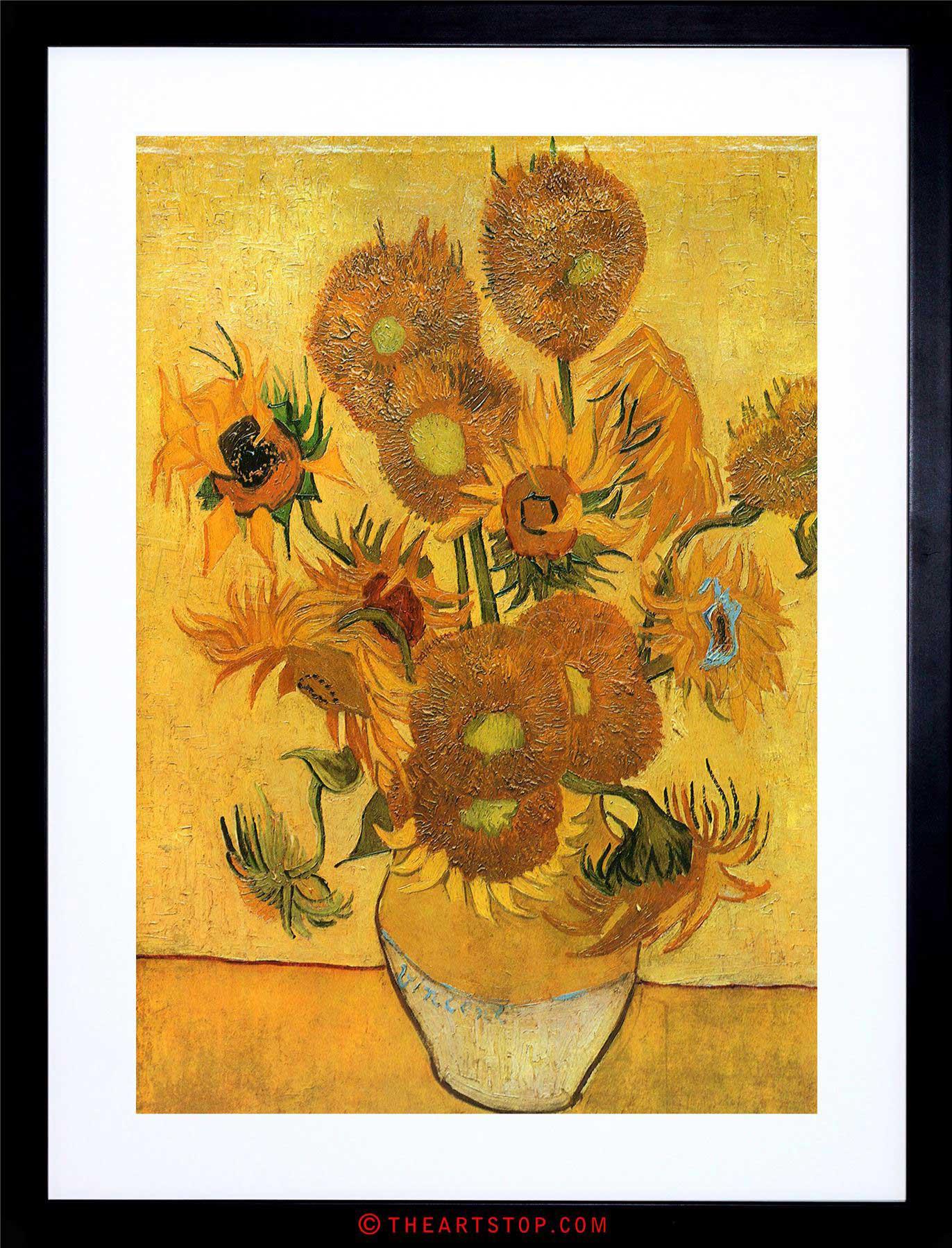 vase with fifteen sunflowers of painting van gogh still life vase fifteen sunflowers framed print throughout image is loading painting van gogh still life vase fifteen sunflowers