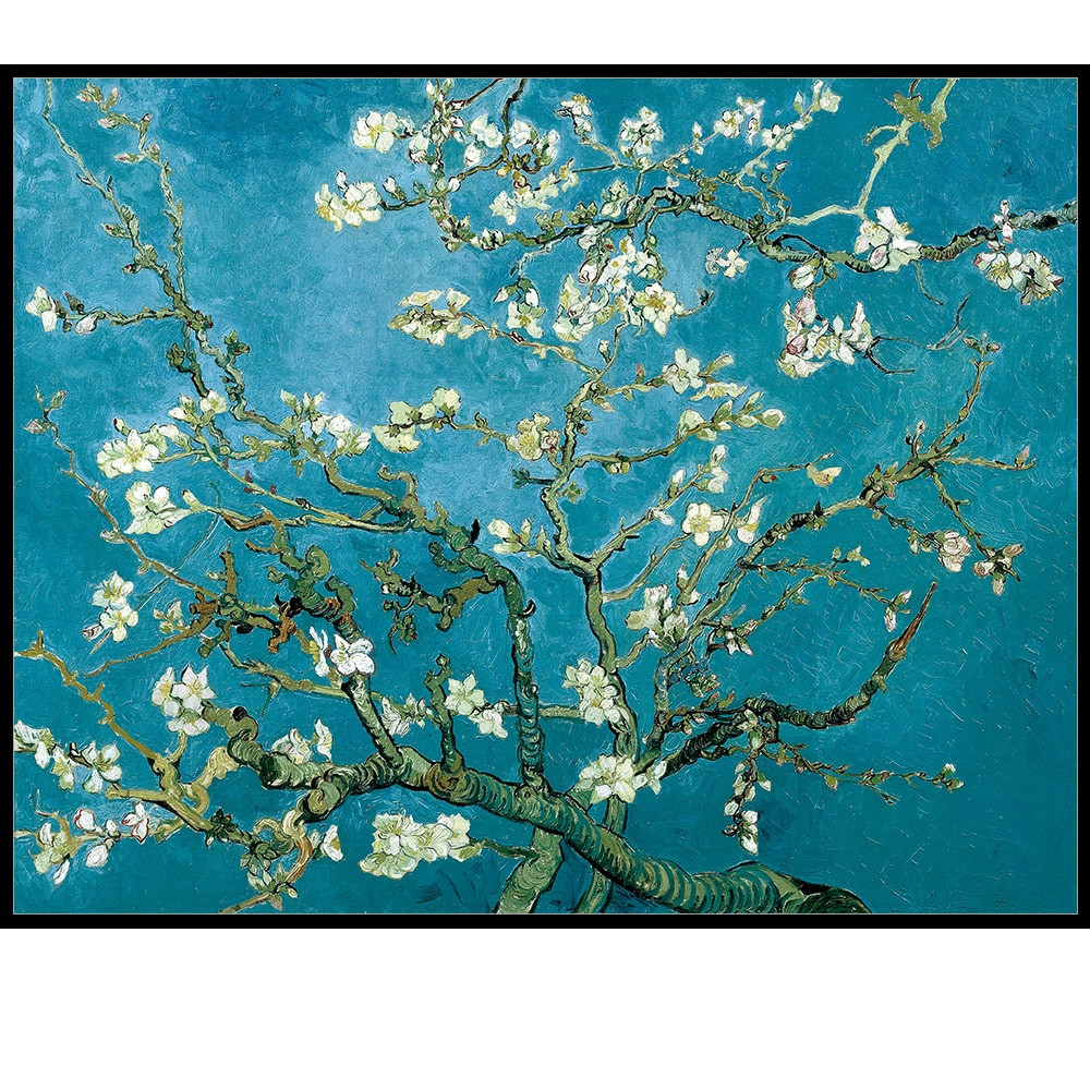Vase with Flowers Vincent Van Gogh Of Blossoming Almond Tree by Van Gogh Reproduction Works Oil Painting Intended for Blossoming Almond Tree by Van Gogh Reproduction Works Oil Painting Canvas Print Wall Art Picture Living Room Cafe Hotel Decor In Painting Calligraphy From