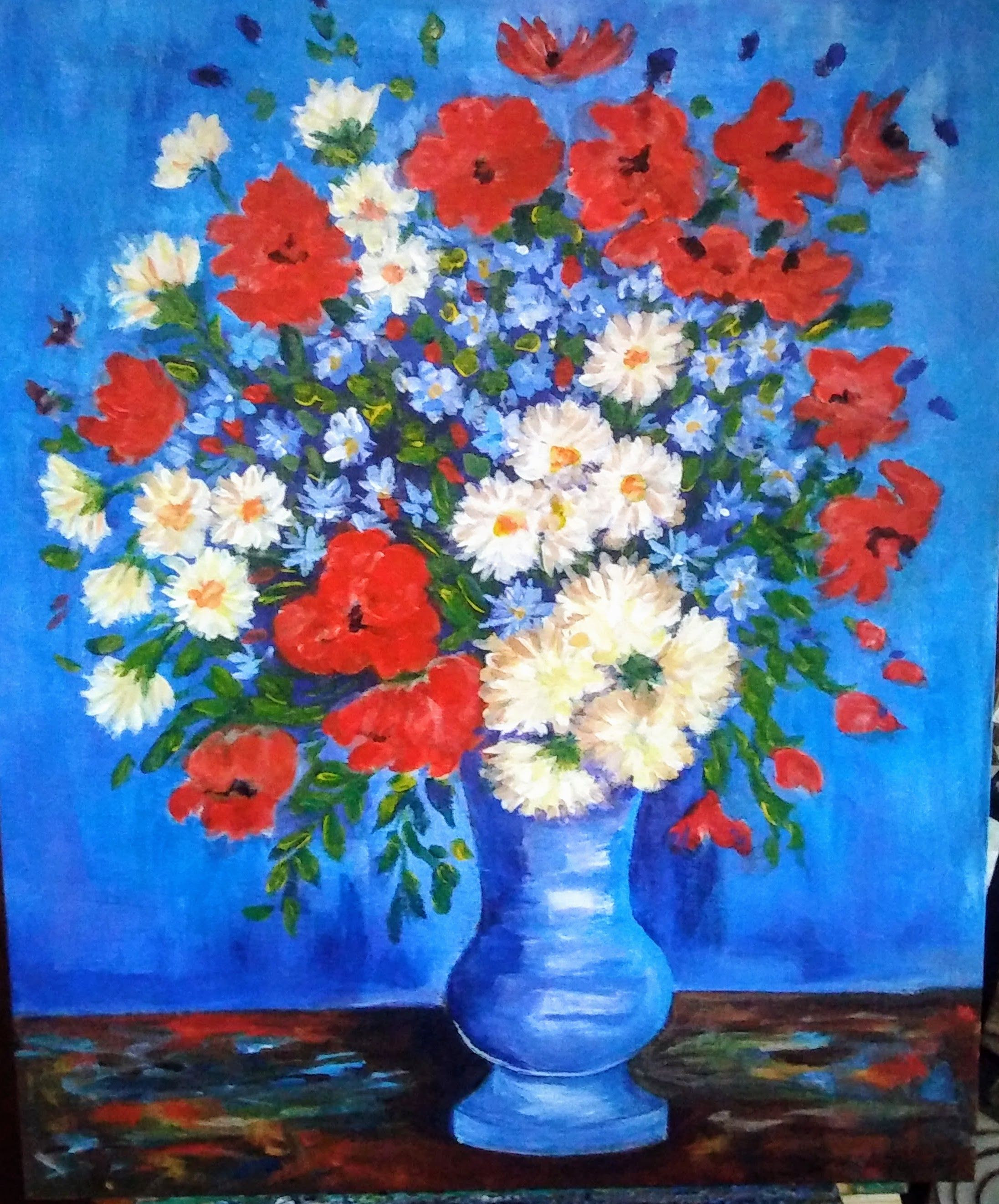 vase with flowers vincent van gogh of van gogh corn flowers was painted by christine gerst from one of pertaining to van gogh corn flowers was painted by christine gerst from one of over 270 lessons we have on our acrylic academy website www gingercooklive gallery lovely