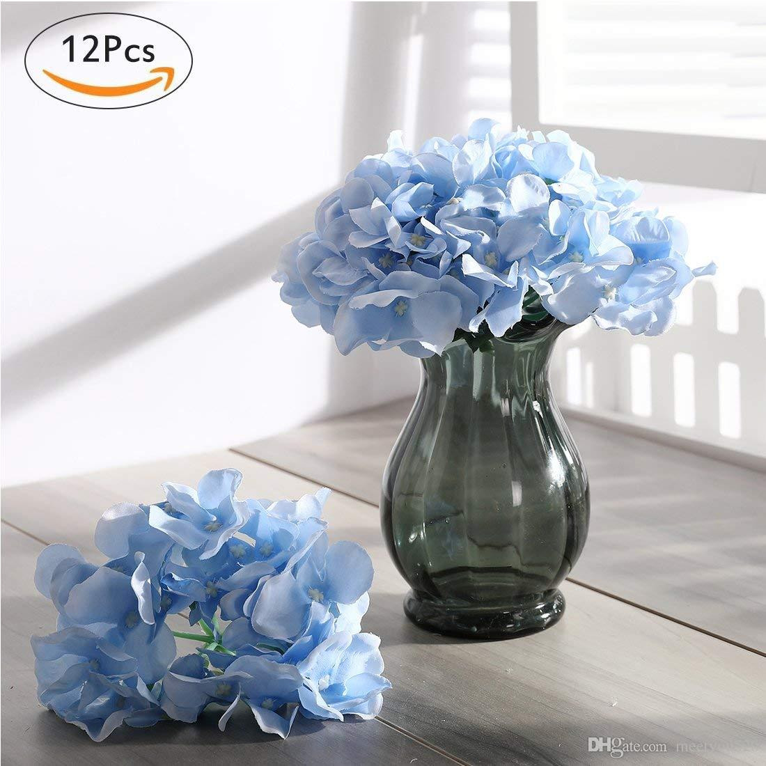 vase with hydrangeas of 2018 blooming silk hydrangea flower heads for diy bouquets wedding inside 2018 blooming silk hydrangea flower heads for diy bouquets wedding centerpieces home decor sky blue from meetyou520 11 94 dhgate com