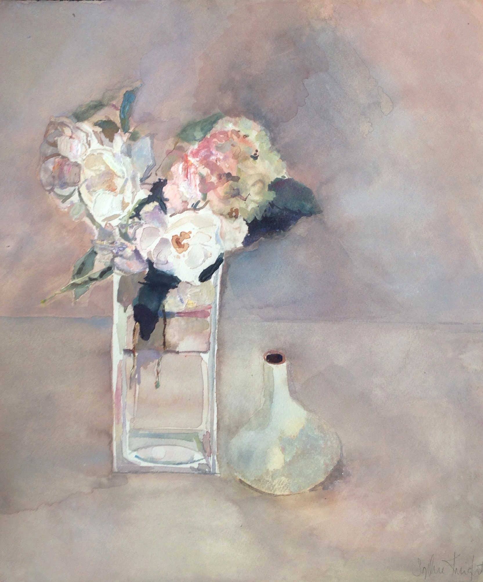 vase with hydrangeas of sophie knight three white roses and a hydrangea picked from my with regard to three white roses and a hydrangea picked from my garden