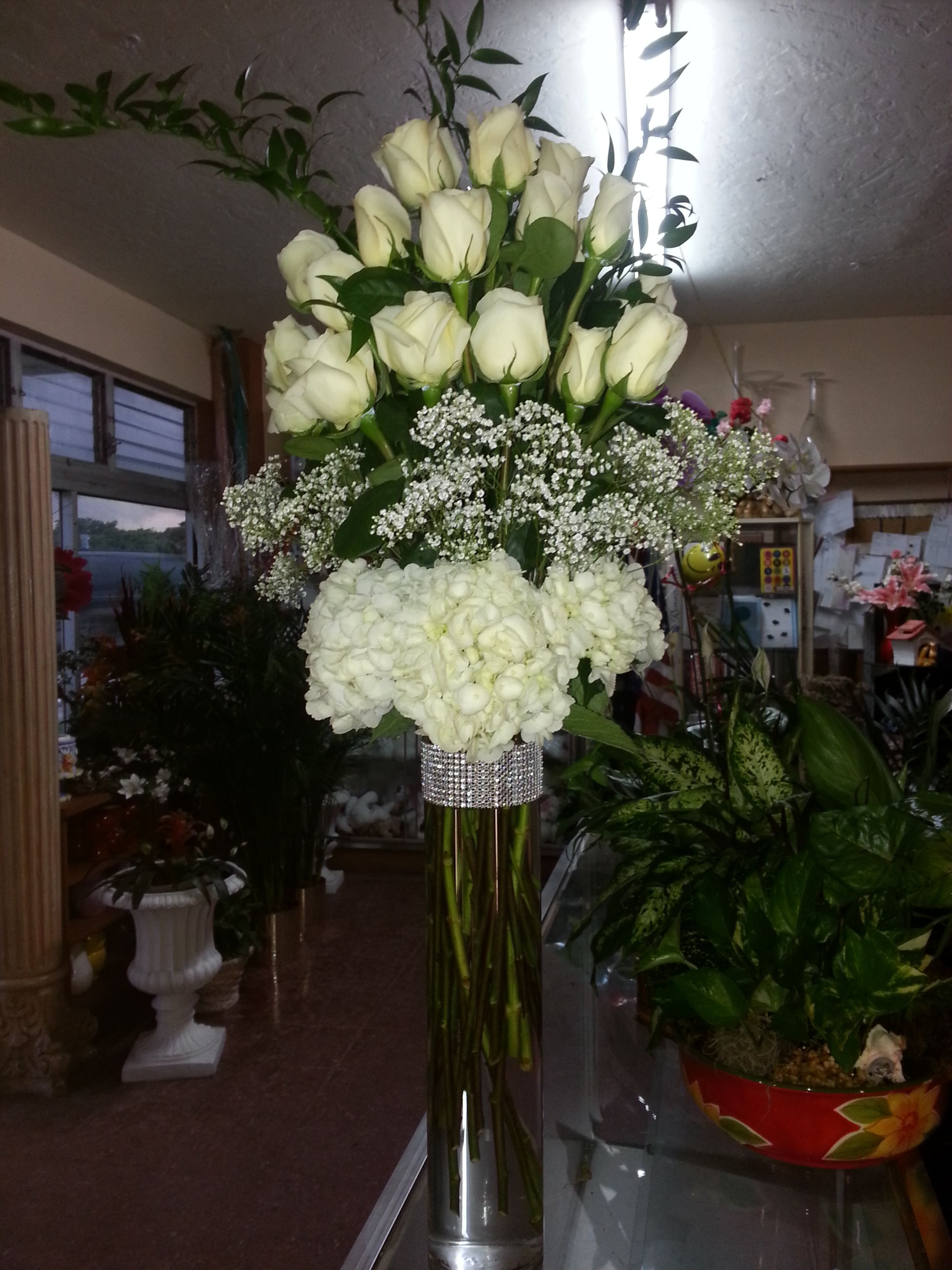 vase with hydrangeas of tall vase designed with white hydrangeas on the bottom babys for tall vase designed with white hydrangeas on the bottom babys breath in the middle