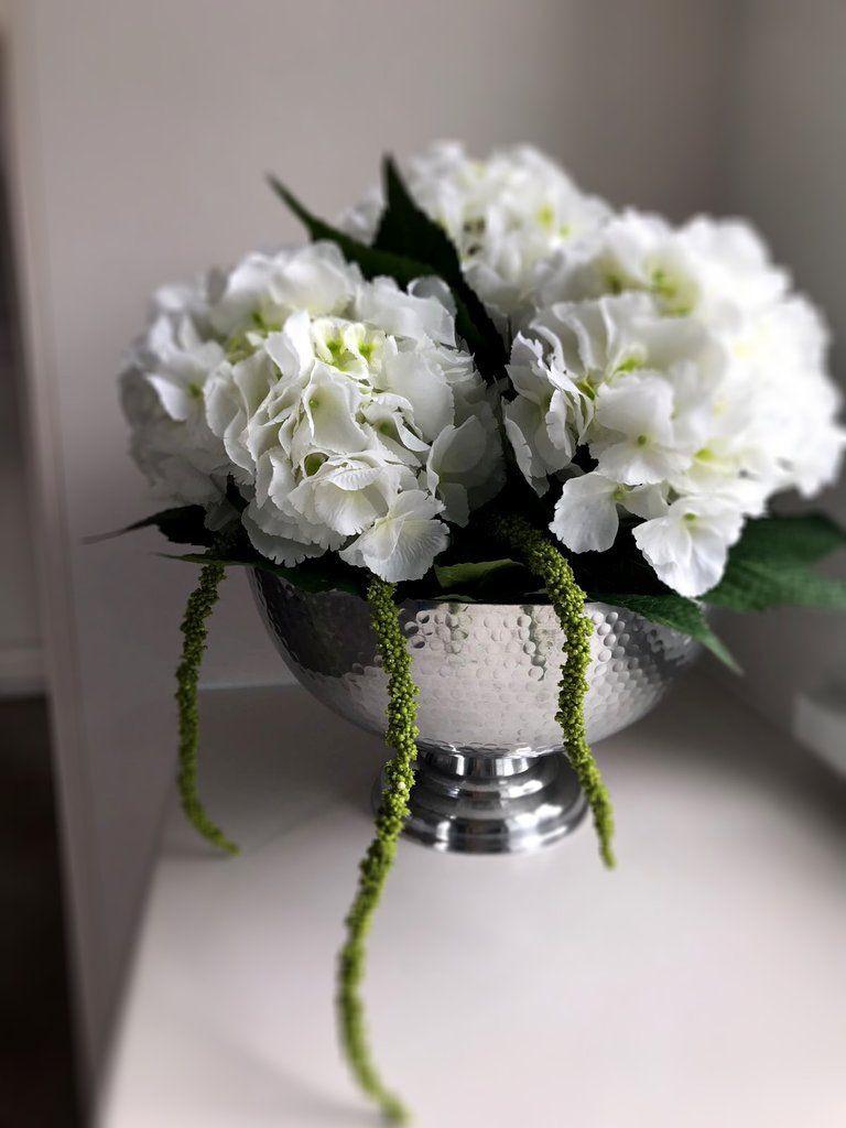 vase with hydrangeas of white hydrangeas amaranthus foliage chrome goblet vase throughout white hydrangeas amaranthus foliage chrome goblet vase
