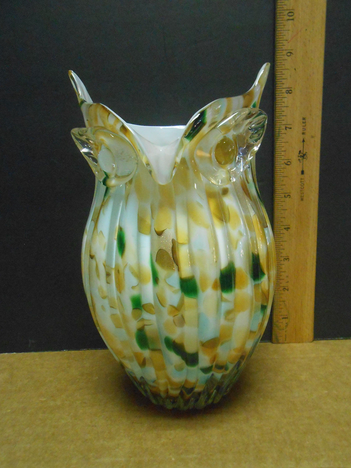 vidi glass naples vase of exquisite hand made glass owl vase murano style 8 5 tall a15 61 for exquisite hand made glass owl vase murano style 8 5 tall 1 of 5only 1 available exquisite hand made glass owl vase