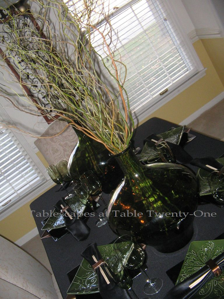 vidrios san miguel recycled glass vase of curly willow tablescapes at table 21 for i bought these uber cool dark green vidrios san miguel vases made of recycled glass at tj maxx awhile back love them theyre huge and they really