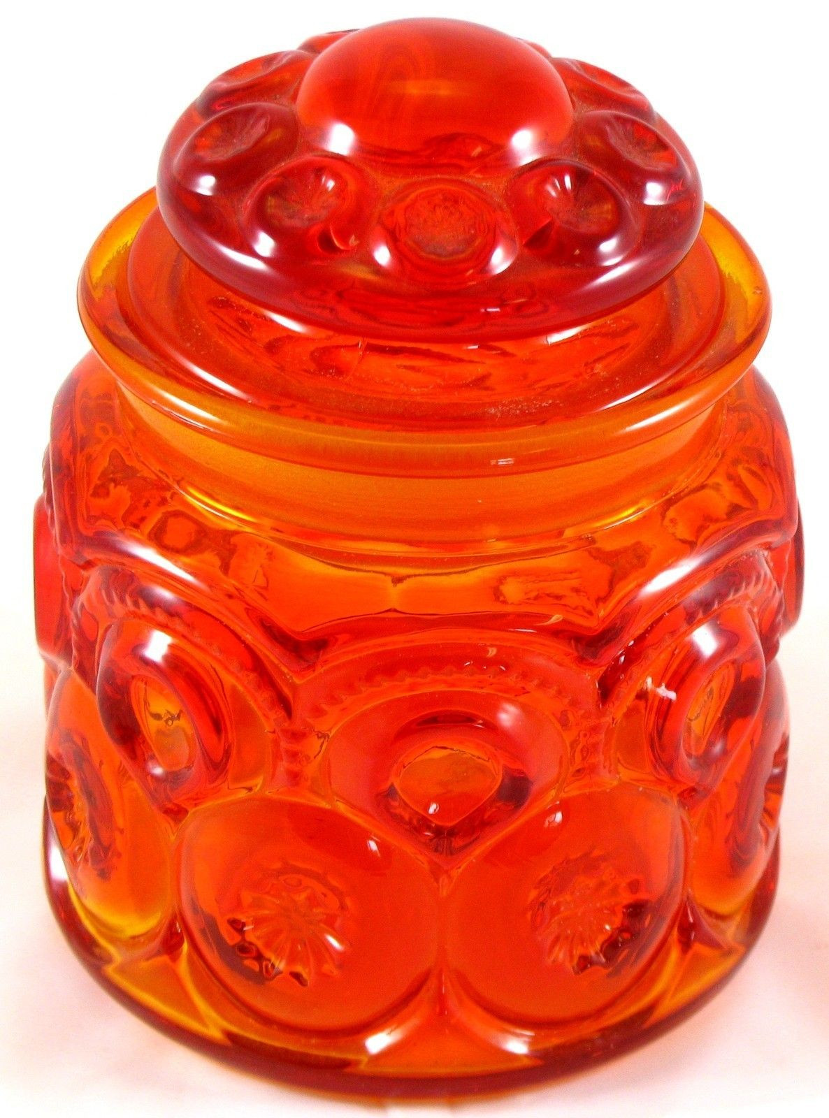 Viking Amberina Glass Vase Of L E Smith Glass Amberina Moon Stars Jar Canister Container Intended for L E Smith Glass Amberina Moon Stars Jar Canister Container Vintage Red orang