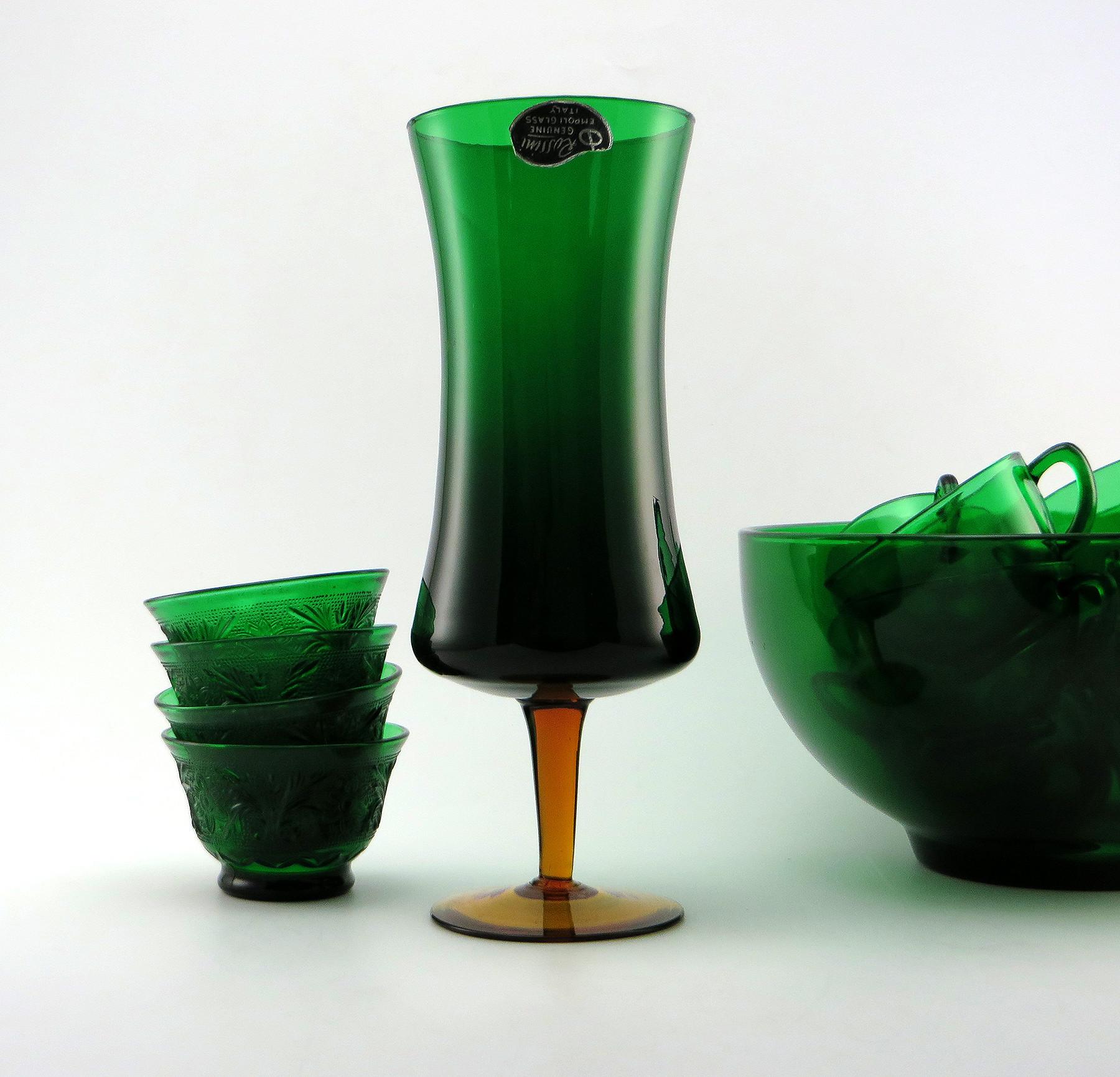 viking glass green vase of rossini empoli art glass retro modern vase with label retro art glass in rossini empoli art glass retro modern vase with label