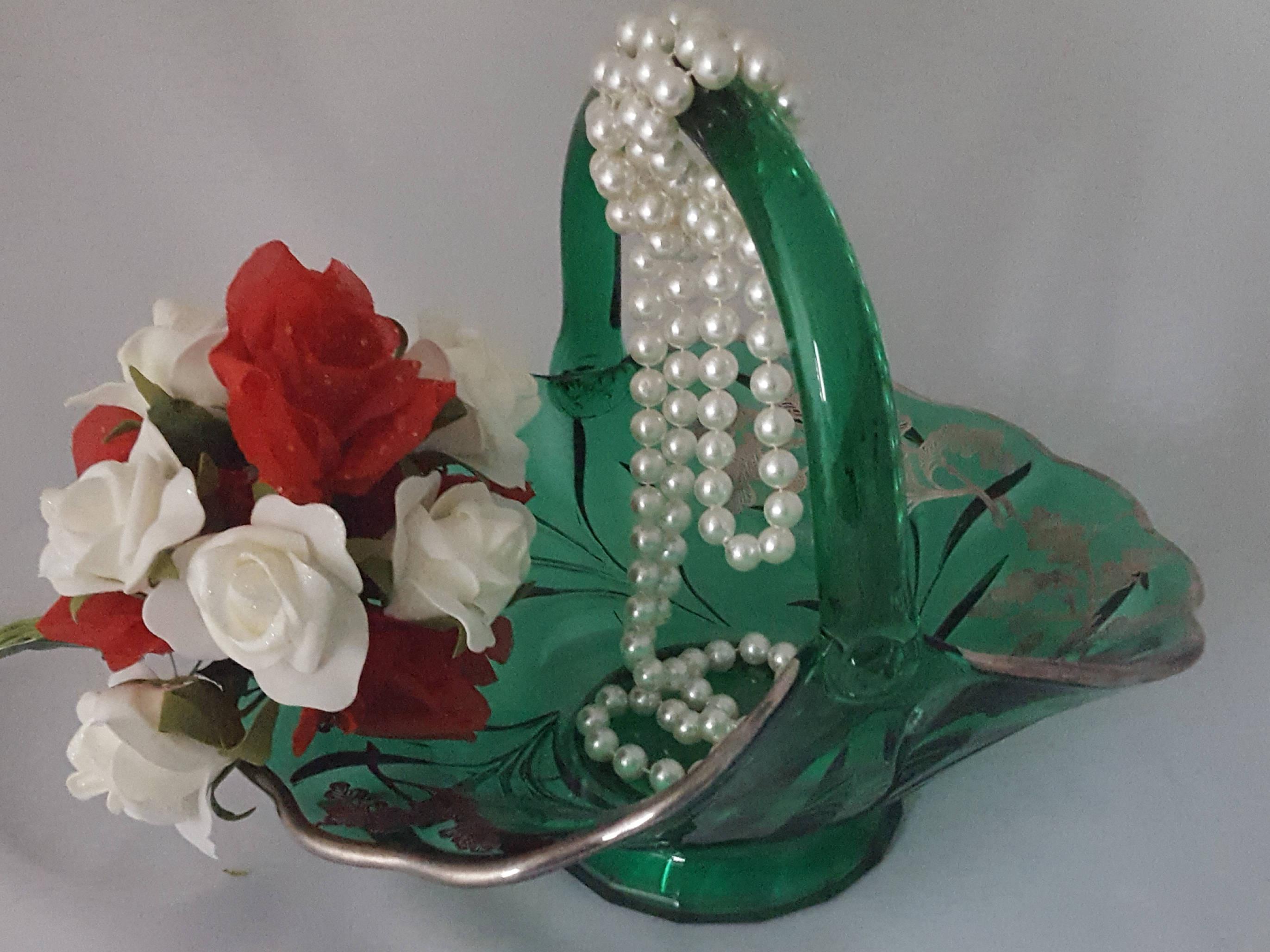 "viking glass green vase of viking glass green handled basket acorn tree pattern of etsy with dŸ""Žzoom"