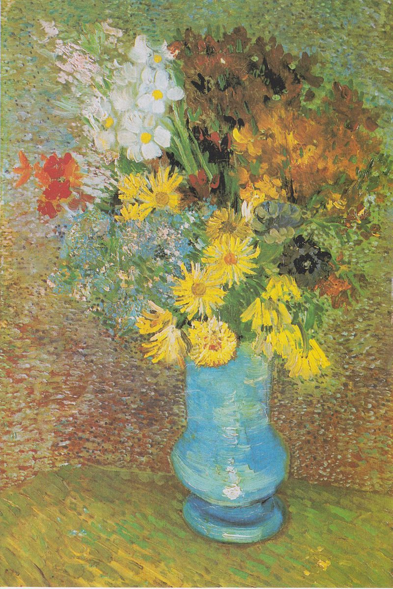 vincent van gogh vase with cornflowers and poppies of van gogh vase with daisies and anemones 1887 kra¶ller ma¼ller regarding vincent van gogh vase with daisies and anemones painting reproduction art on canvas