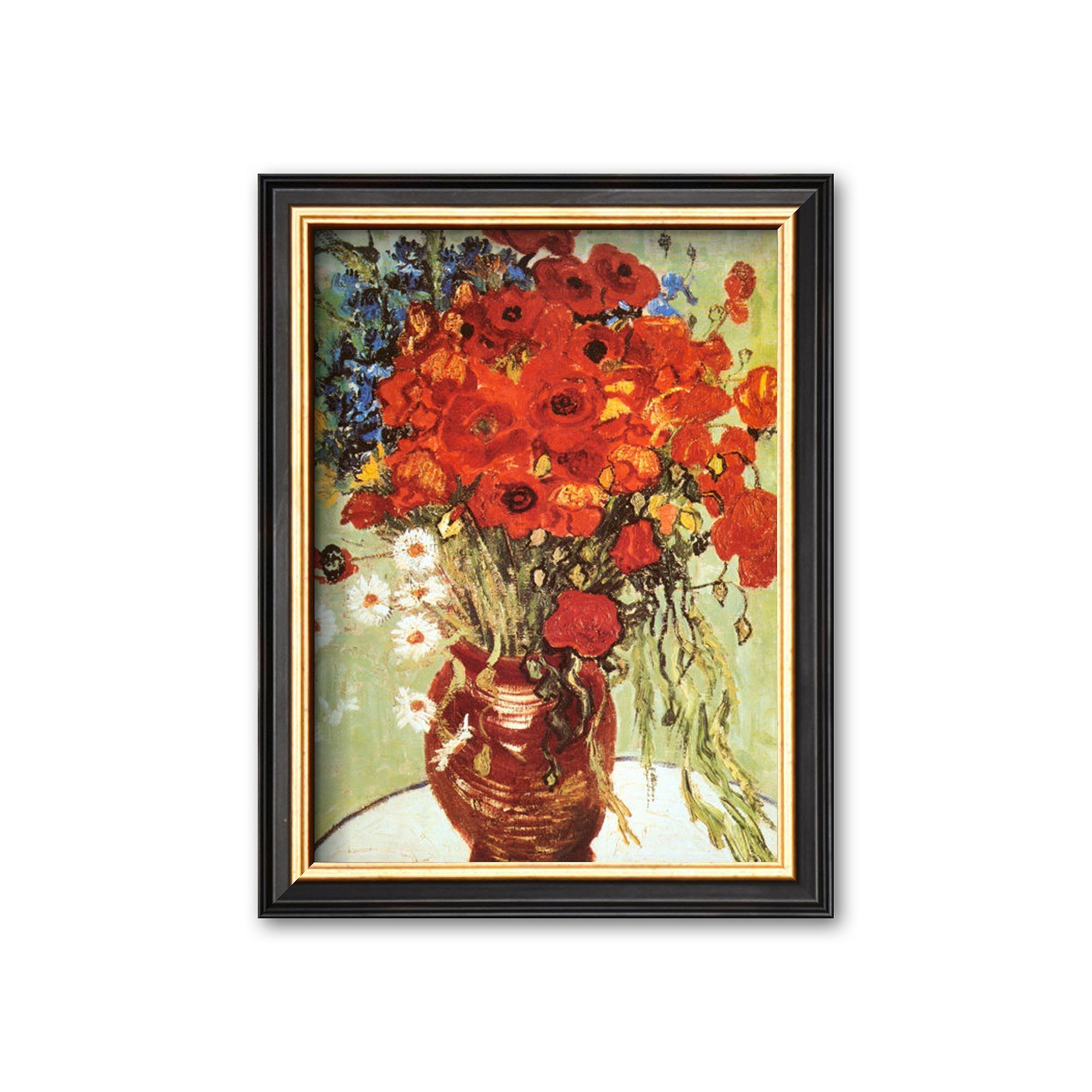 vincent van gogh vase with red poppies of art com vase with daisies and poppies framed wall art by with regard to art com vase with daisies and poppies framed wall art by vincent van gogh