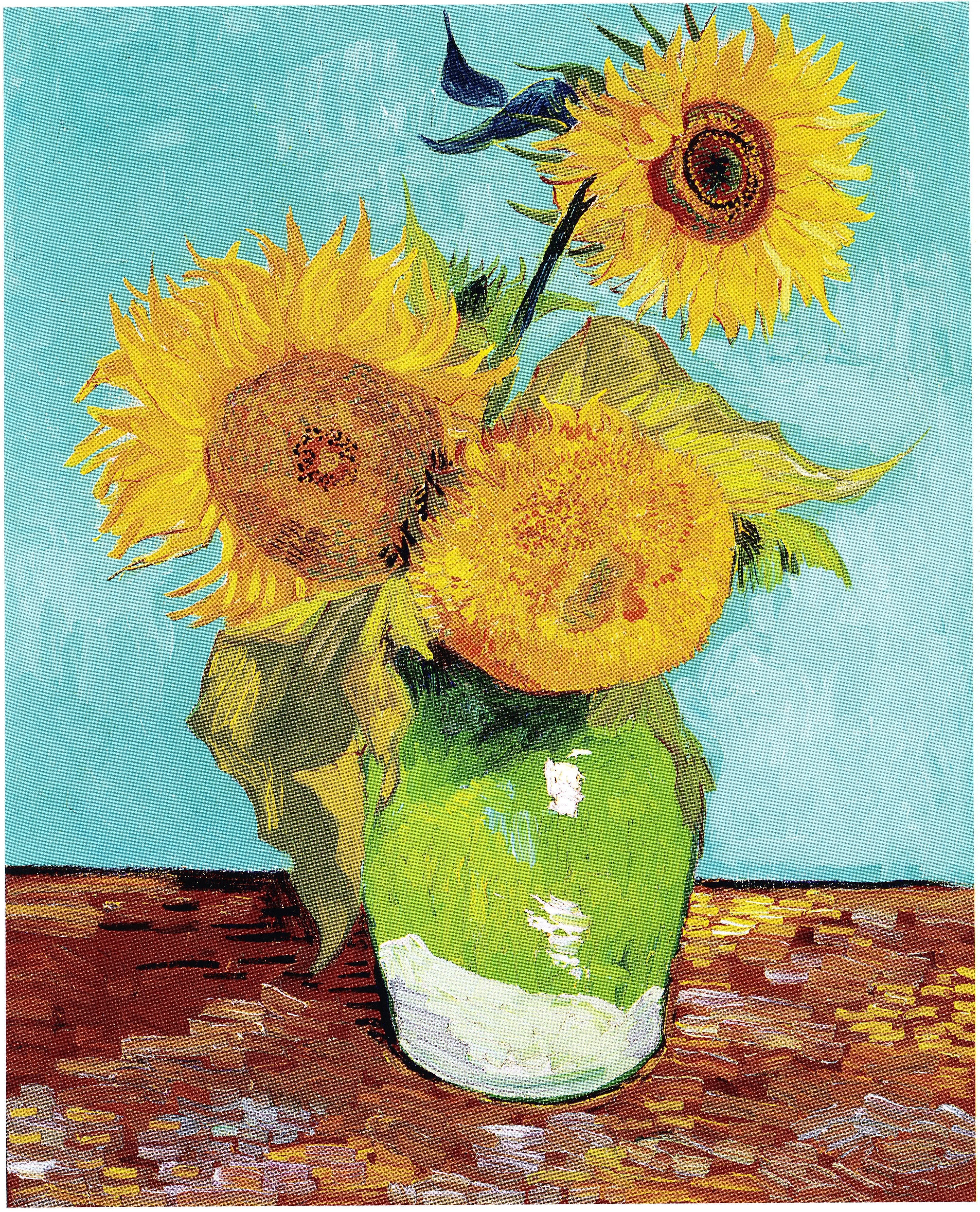 vincent van gogh vase with twelve sunflowers of saoborvincent van gogh three sunflowers f453 wikipadia intended for saoborvincent van gogh three sunflowers f453