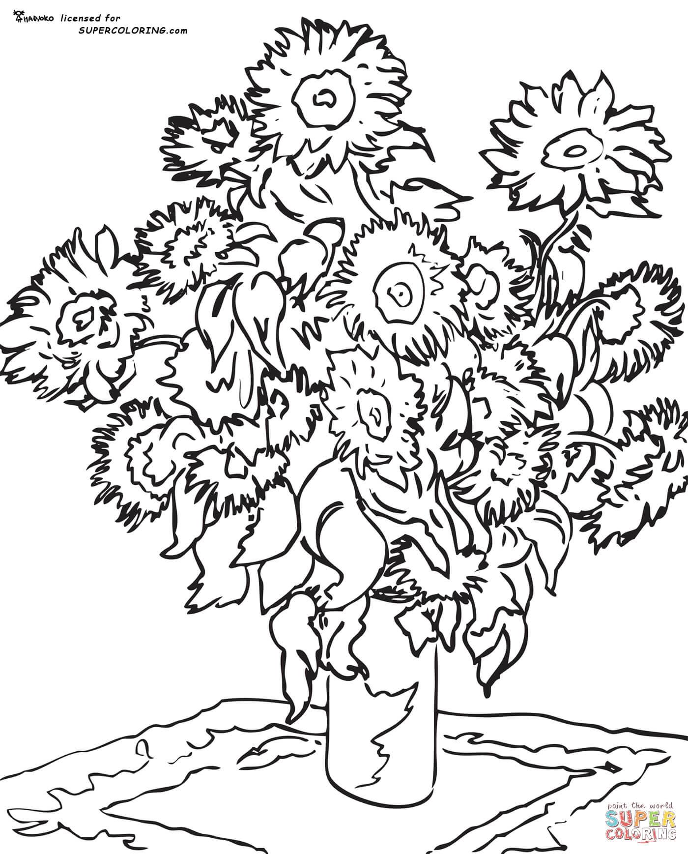 10 Lovable Vincent Van Gogh Vase with Twelve Sunflowers 2021 free download vincent van gogh vase with twelve sunflowers of van gogh sunflowers coloring page 2787748 in coloring page of vincent van goghs self portrait letmecolor