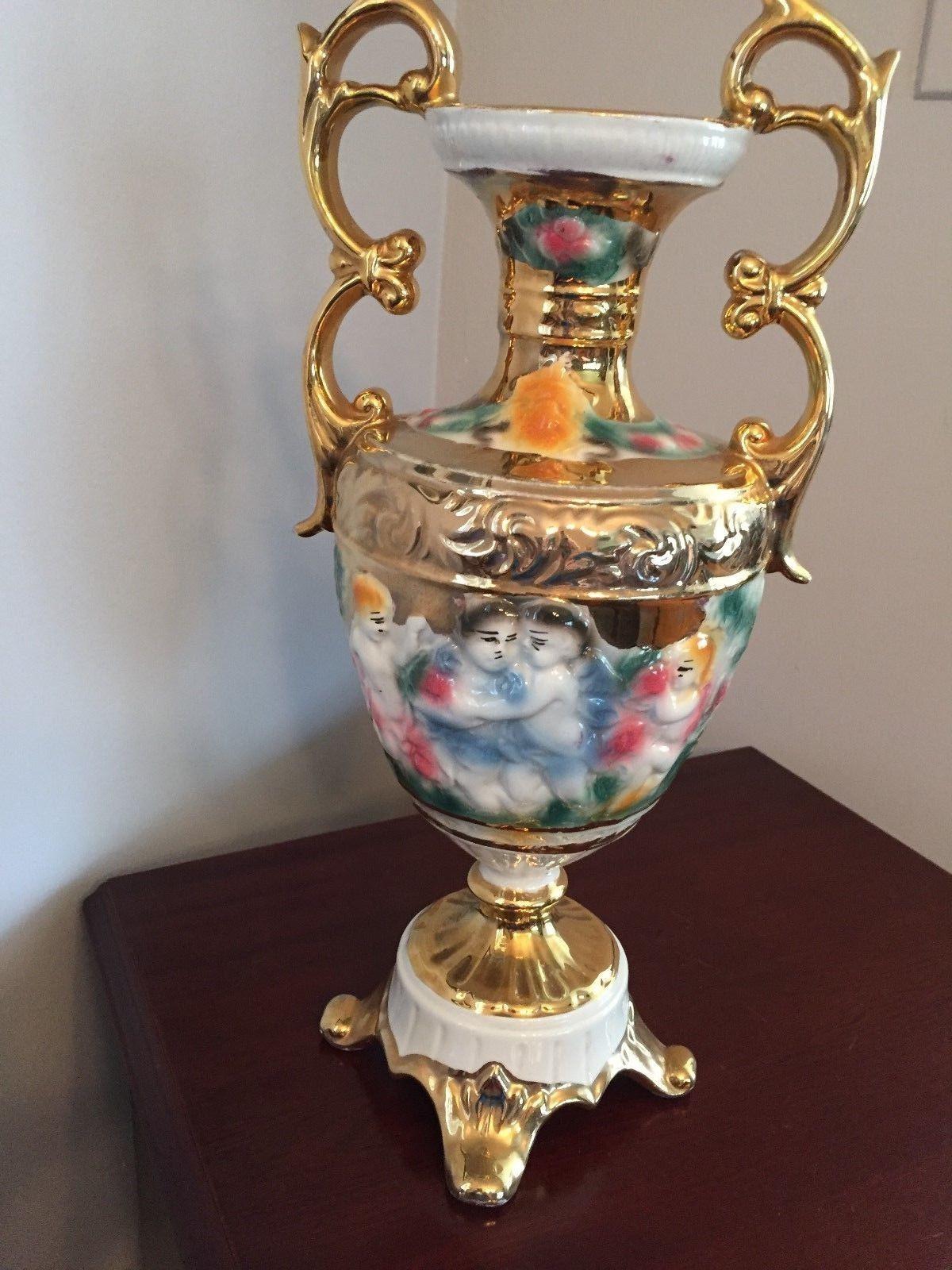 Vintage Capodimonte Vase Of Double Handled Vintage Capodimonte Vase Urn Made In Italy 2054 A Intended for 1 Of 7 Double Handled Vintage Capodimonte Vase Urn Made In Italy 2054 A Cherubs Putti 2 Of 7 Double Handled Vintage Capodimonte Vase