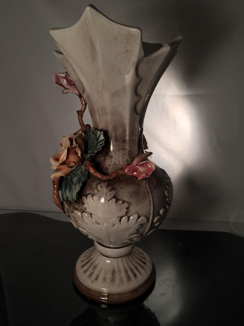 Vintage Capodimonte Vase Of Rare Large Antique Capodimonte Vase Iitaly Signed with Crown Inside Rare Large Antique Capodimonte Vase Iitaly Signed with Crown Excellent Condition 1806458773