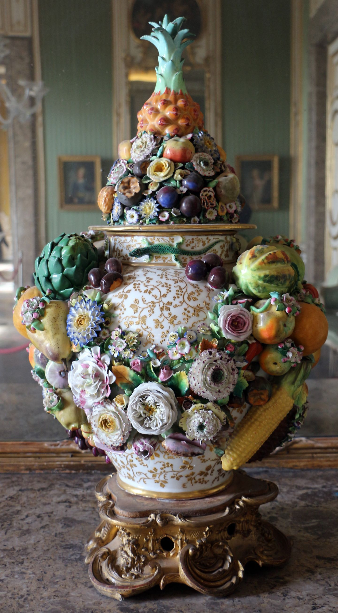 Vintage Capodimonte Vase Of Royal Palace Of Caserta Italy Capodimonte Porcelain Vase with within Royal Palace Of Caserta Italy Capodimonte Porcelain Vase with Fruit Flowers and Animals In High Relief