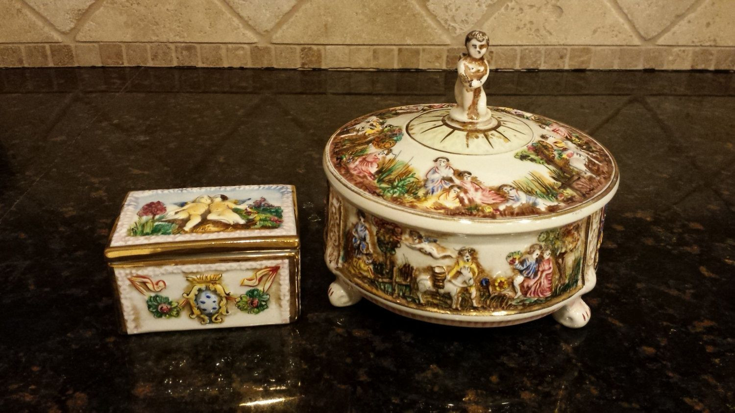 Vintage Capodimonte Vase Of Two Capodimonte Italy Pieces One Courting Couple Lidded Candy Dish for Two Capodimonte Italy Pieces One Courting Couple Lidded Candy Dish and One Cherub Trinket Box