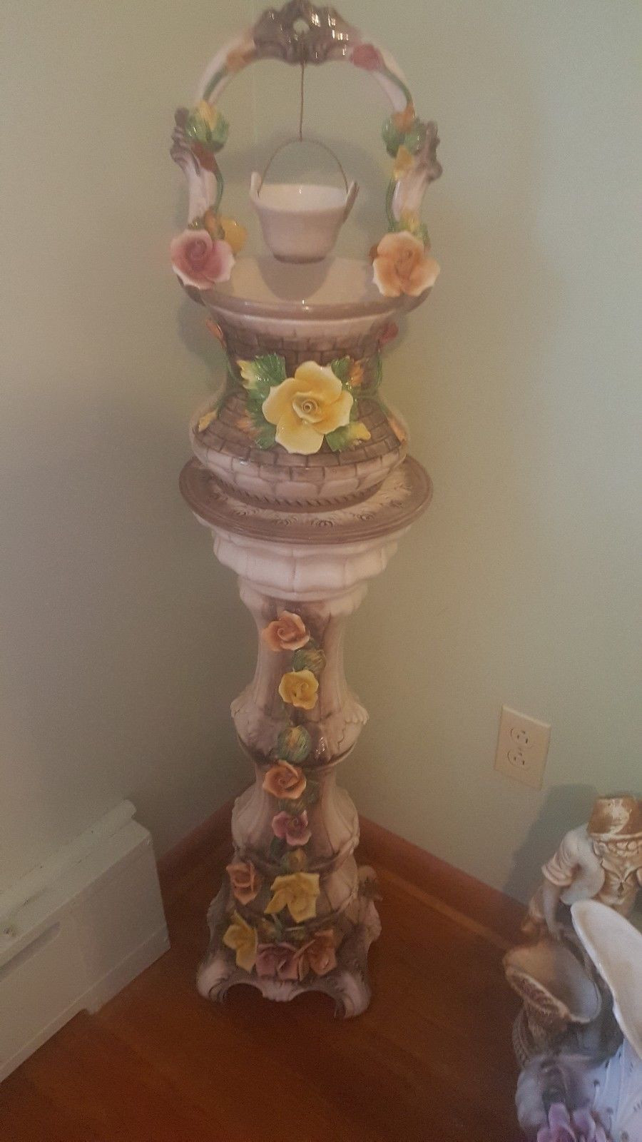 Vintage Capodimonte Vase Of Xl 1949 Vintage Capodimonte Porcelain Wishing Well Pedestal Stand Pertaining to Xl 1949 Vintage Capodimonte Porcelain Wishing Well Pedestal Stand and Pitcher 1 Of 11 See More