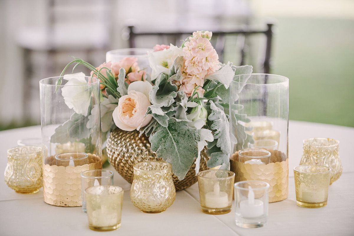Vintage Centerpiece Vases Of soft Romantic Centerpiece In A Gold Vintage Vase with Gold Mercury Throughout soft Romantic Centerpiece In A Gold Vintage Vase with Gold Mercury Glass Votives Blush and Peach Garden Roses with Dusty Miller to Accent