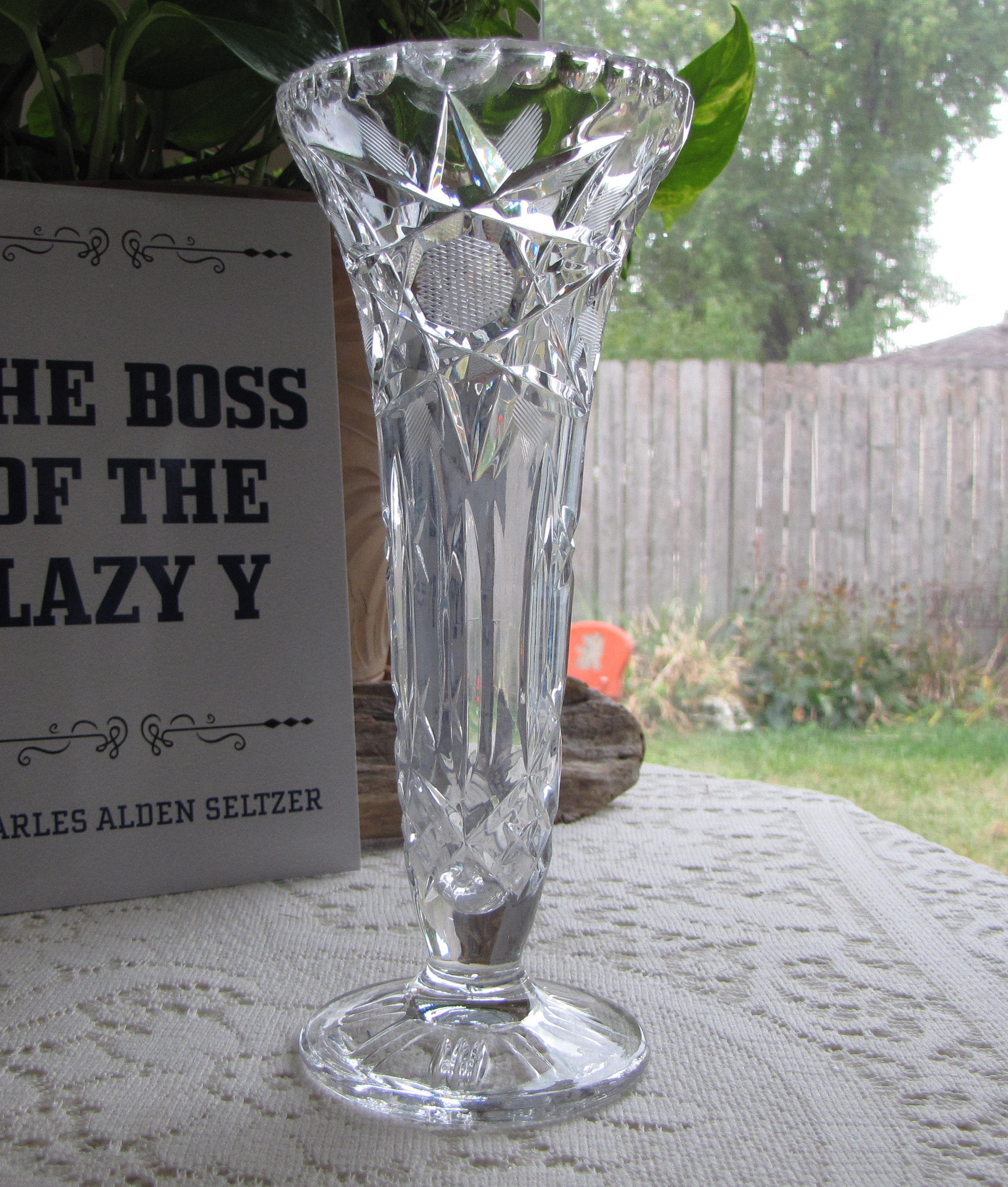 vintage clear glass flower vases of crystal vase cut glass flower vase etched waffle and stars footed throughout crystal vase cut glass flower vase etched waffle and stars footed vintage vases and florist ware gallery photo gallery photo gallery photo