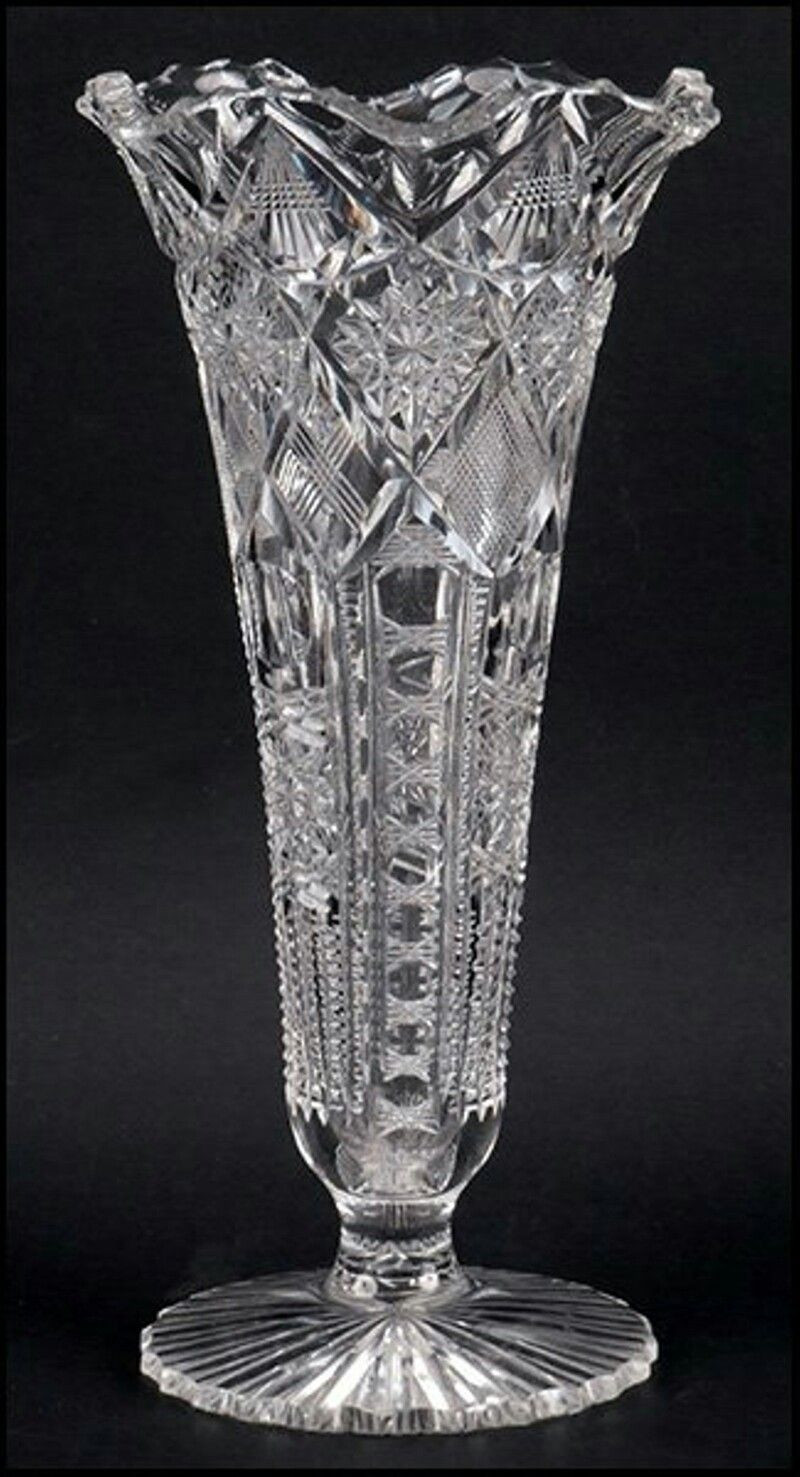 vintage crystal vase of libbey brilliant cut trumpet form vase bears makers mark on base in libbey brilliant cut trumpet form vase bears makers mark on base vase height 11 75
