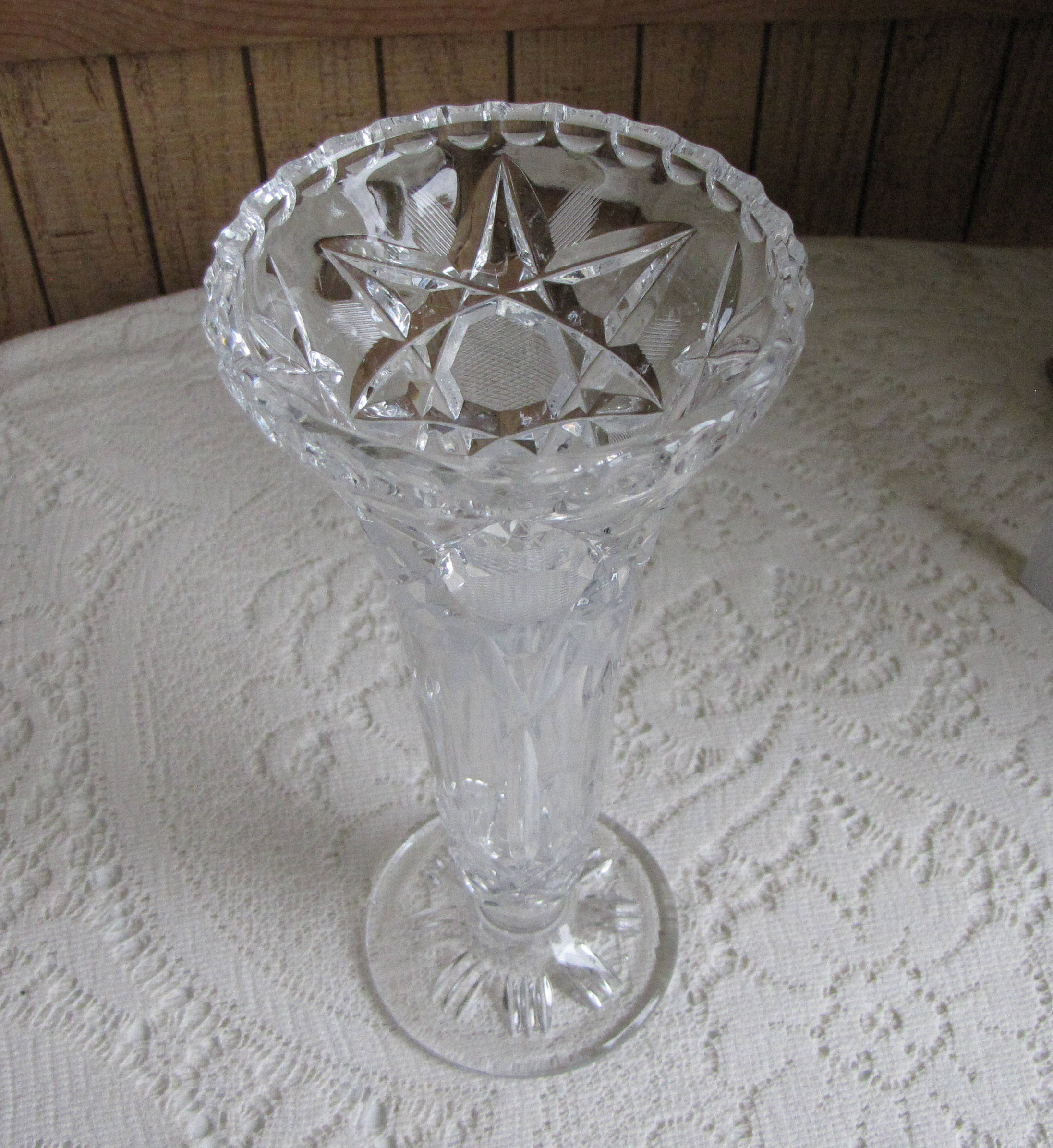 vintage cut glass vase of crystal vase cut glass flower vase etched waffle and stars footed with regard to shipping