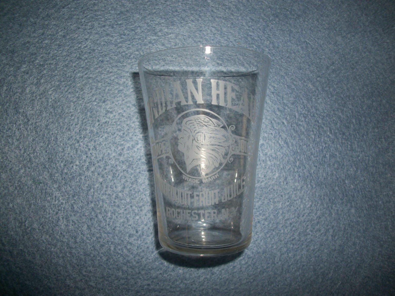 "vintage etched glass vase of indian head grape juice glass irondequoit fruit juice co inside dŸ""Žzoom"