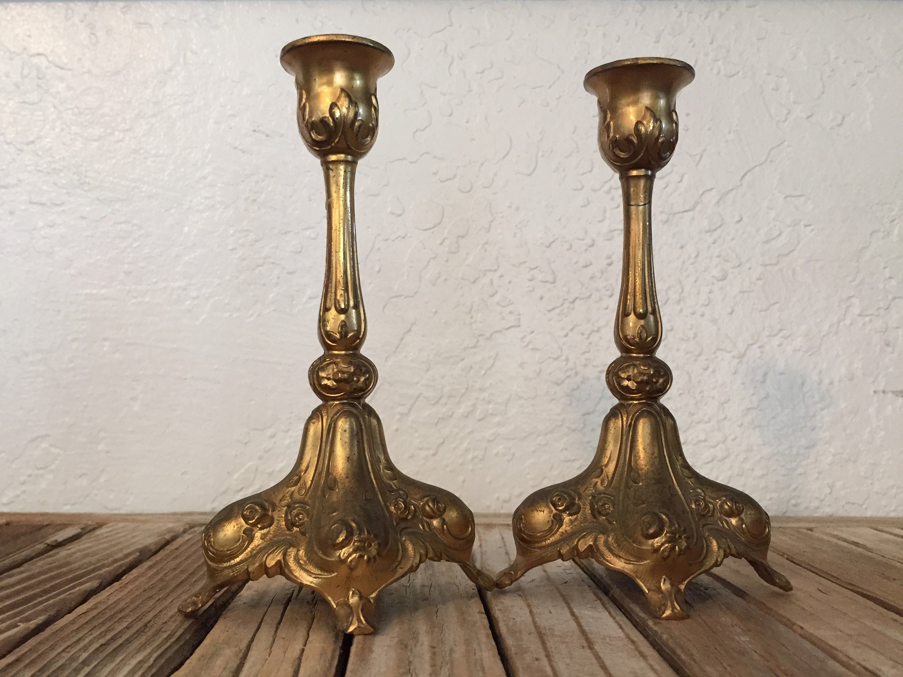 vintage frosted glass vase of pair of antique metal cast art nouveau gold french candle etsy regarding image 2