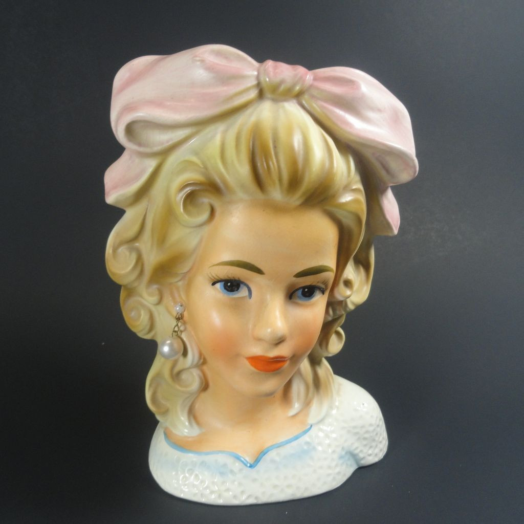 vintage girl head vase of enesco smart teen lady head vase w big bow http www rubylane com for enesco smart teen lady head vase w big bow http www rubylane com ni info items html1413067973