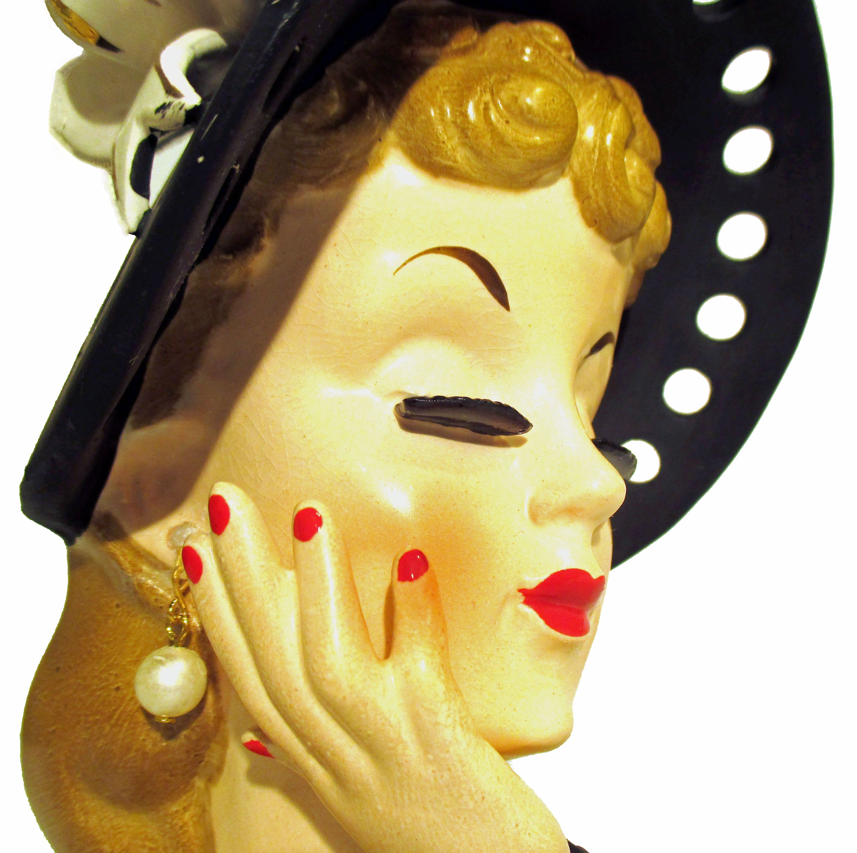 vintage girl head vase of vintage lady head vase hand painted white face red lips etsy throughout theheadvaseshop