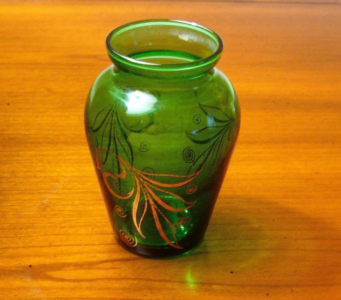 vintage glass flower vases of vintage green glass vase gold design small vase 1950s etsy in dc29fc294c28ezoom