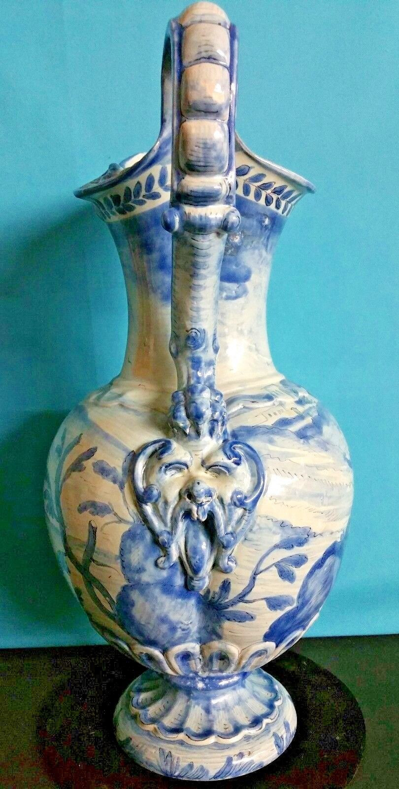 vintage italian pottery vase of antique large ceramic pottery cantagalli ewer 17 1 2 florence italy intended for antique large ceramic pottery cantagalli ewer 17 1 2 florence italy signed ebay