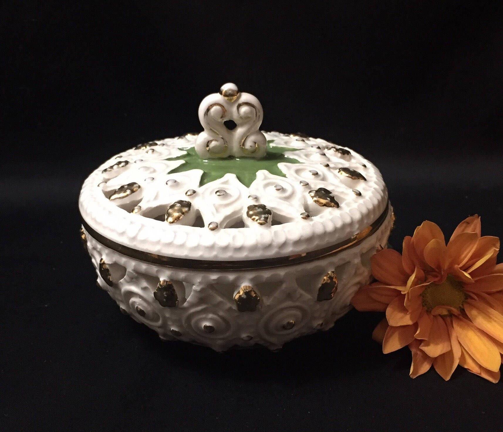 Vintage Italian Pottery Vase Of Vintage Italian Pottery Covered Trinket Dish Koscherak Etsy In Image 0