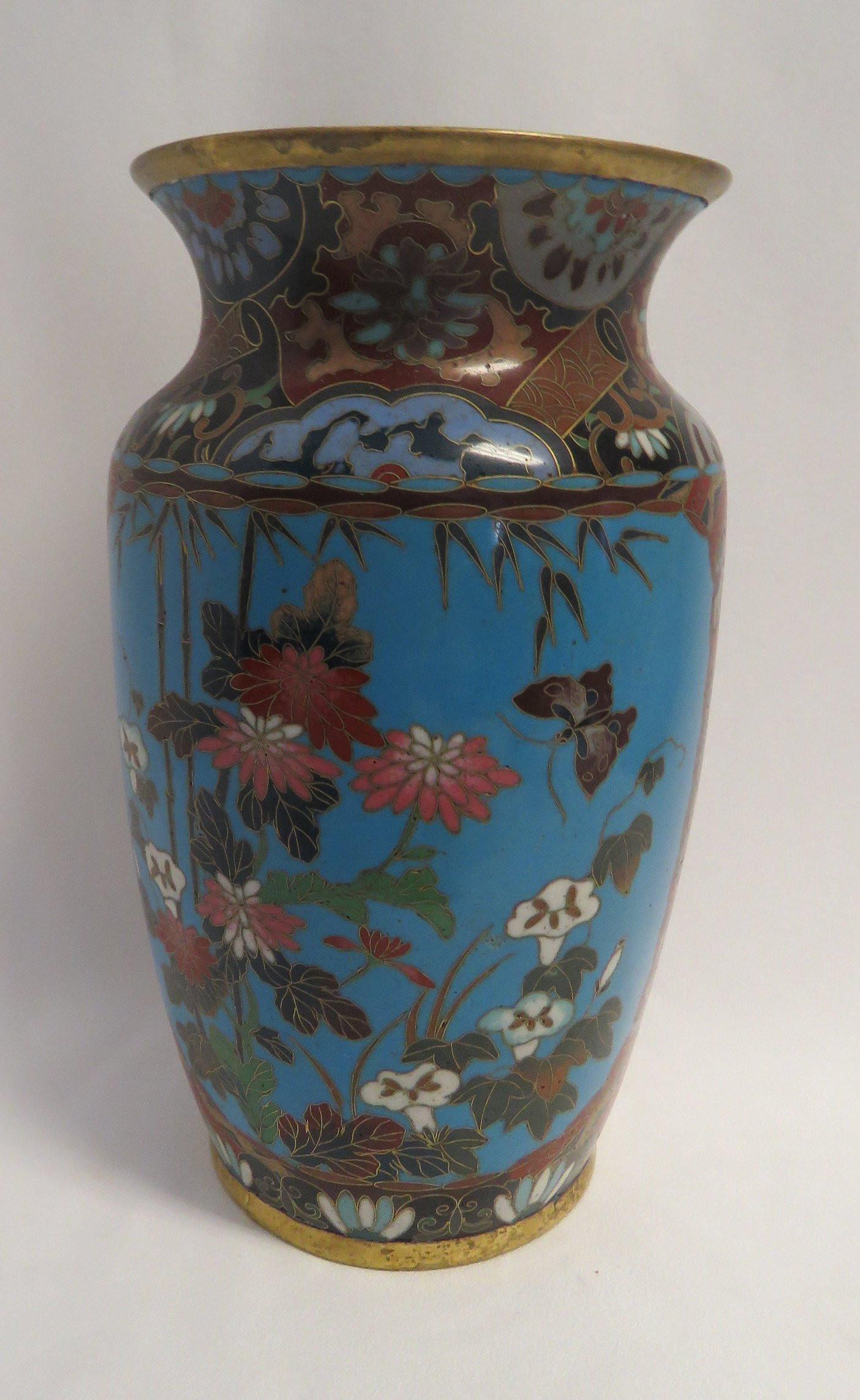 vintage japanese cloisonne vase of antique mejii period japanese blue ground w multi colored etsy within image 0
