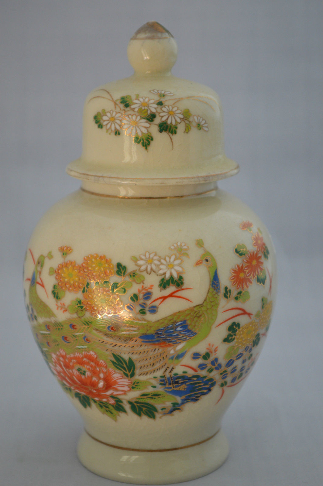vintage japanese peacock vase of vase lid ginger jar oriental asian japanese decor accent peacock within 1 of 10only 1 available
