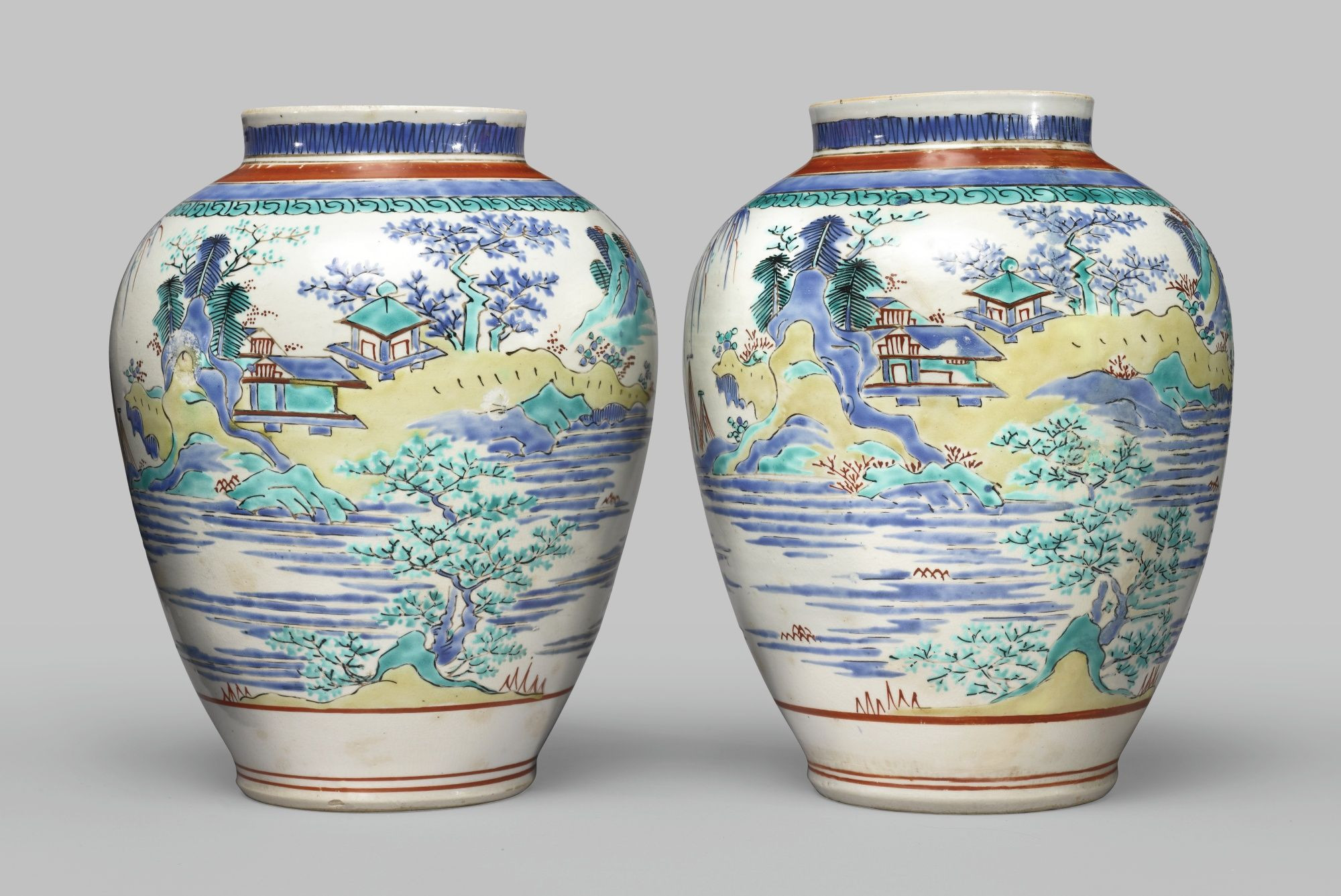 vintage japanese vase markings of a pair of large kakiemon vases japan late 17th century each of for a pair of large kakiemon vases japan late 17th century each of ovoid form decorated in overglazed blue green yellow and iron red depicting a