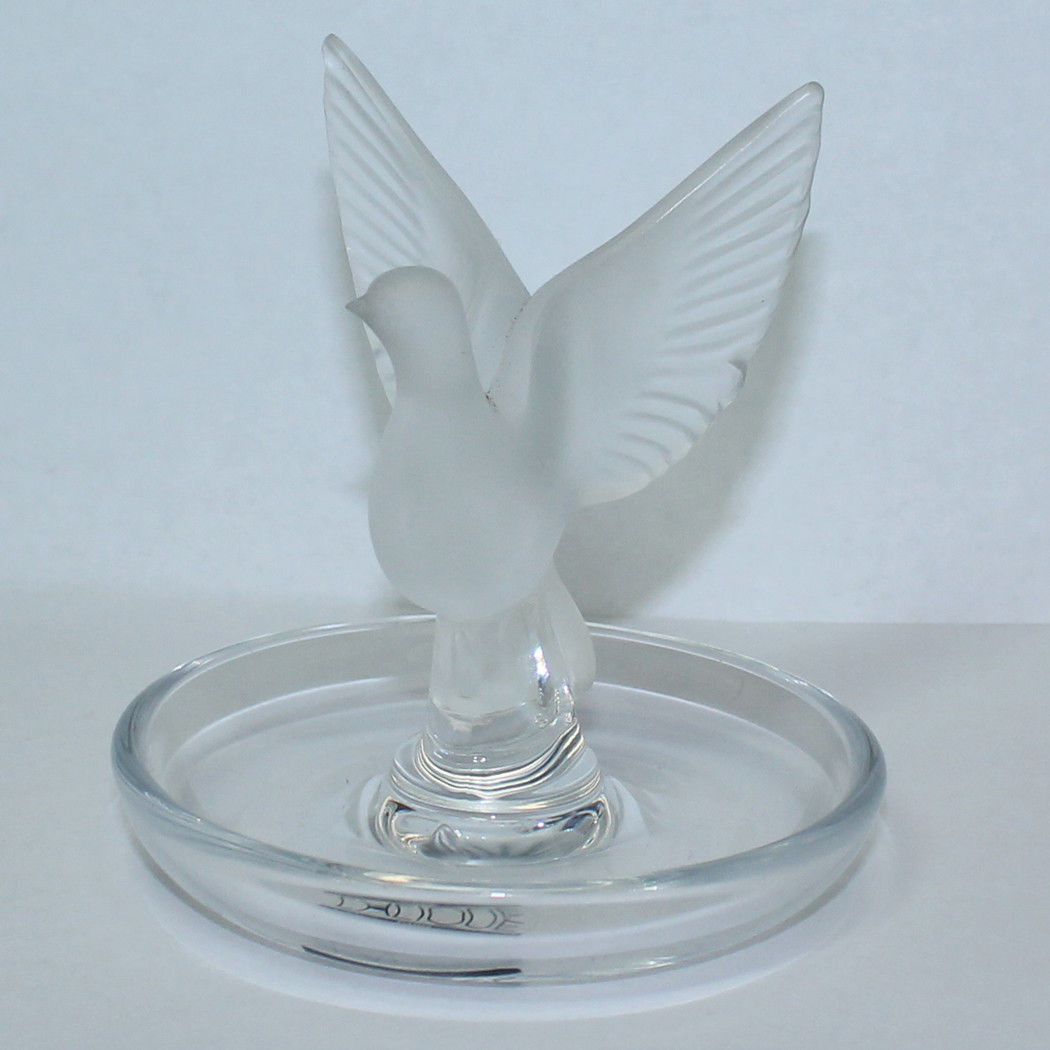 Vintage Lalique Crystal Vases Of Lalique Crystal Ring Tray Holder Dove Thaile Tk 2203 A92 76 Throughout 1 Of 3only 1 Available