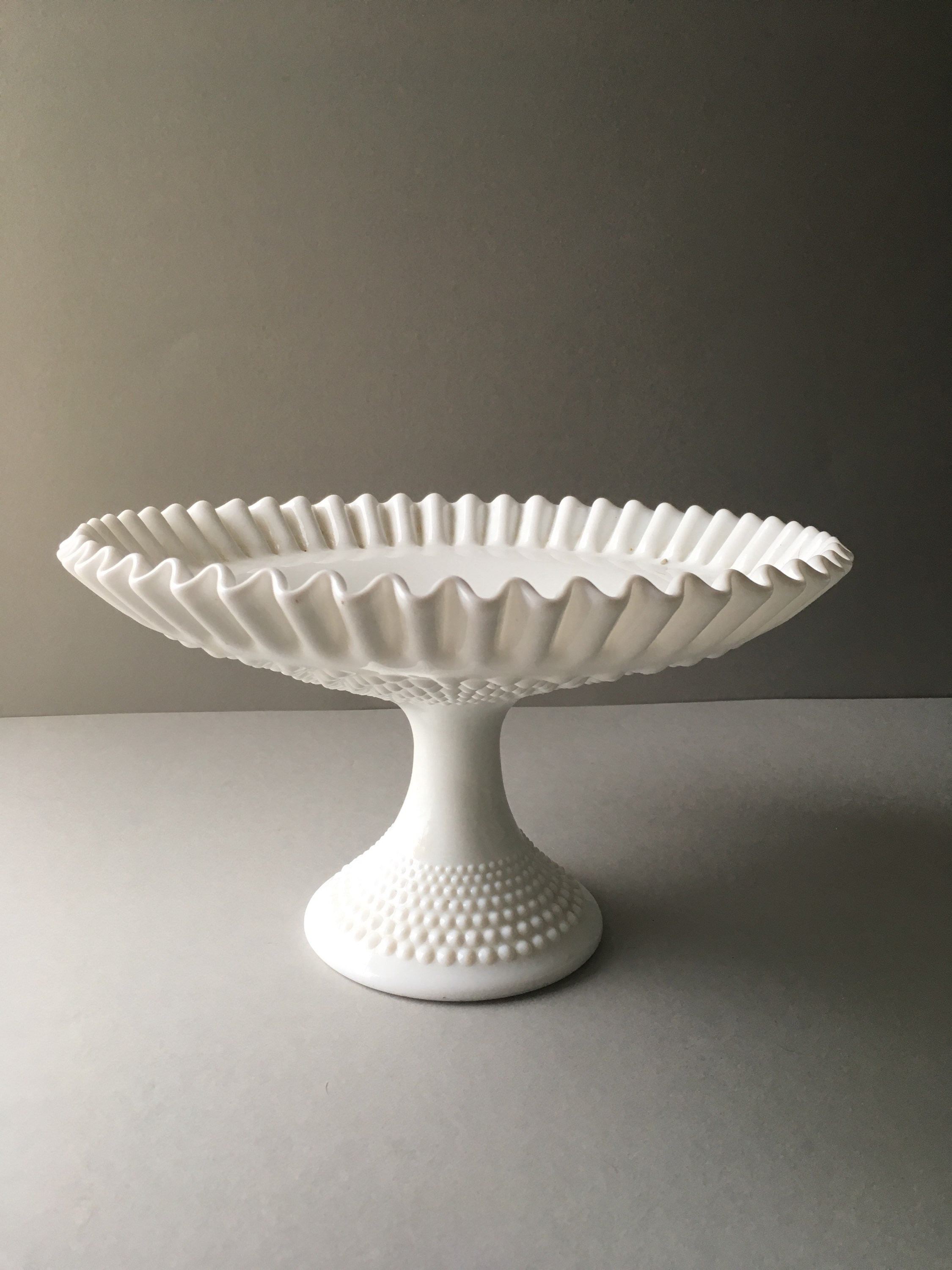 "vintage milk glass hobnail vase of vintage fenton milk glass hobnail pedestal cake stand stand within dŸ""Žzoom"