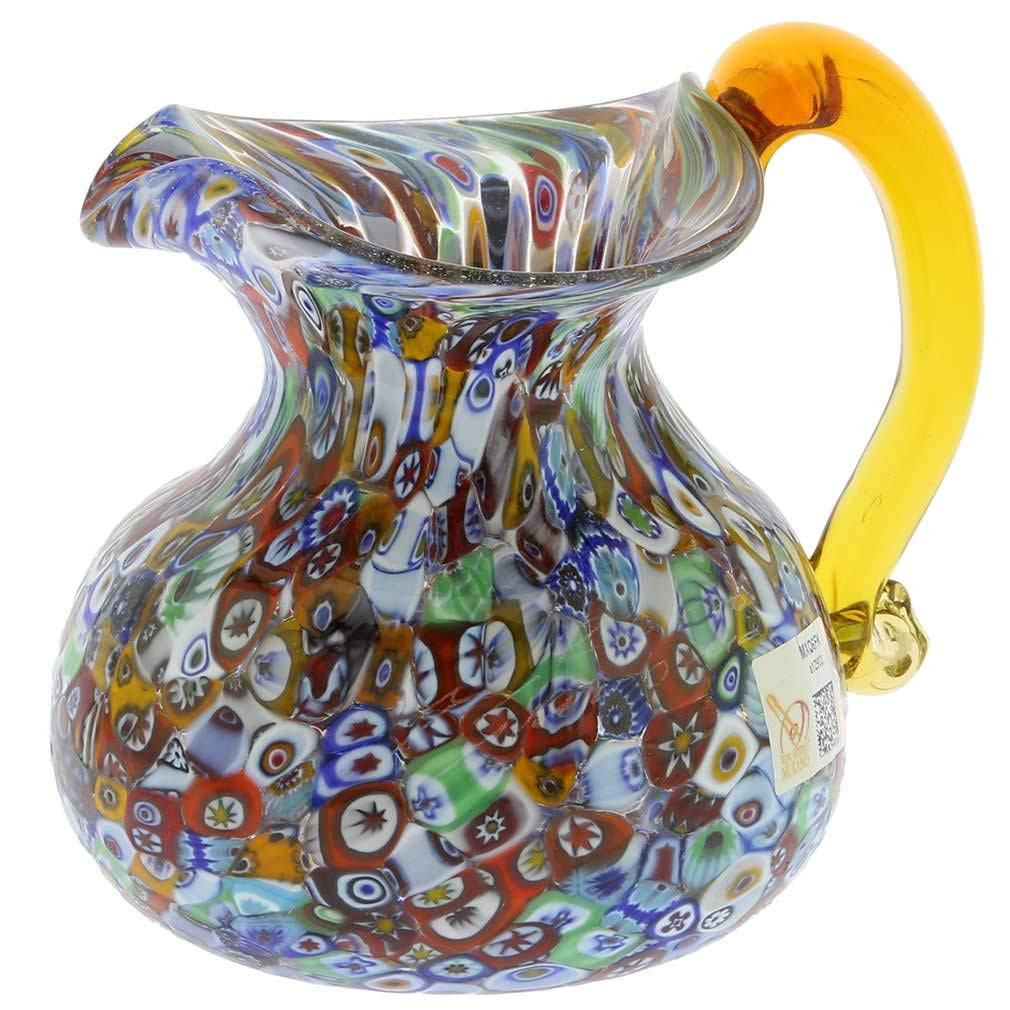 vintage murano art glass vases of amazon com glassofvenice murano glass millefiori pitcher or carafe inside amazon com glassofvenice murano glass millefiori pitcher or carafe home kitchen