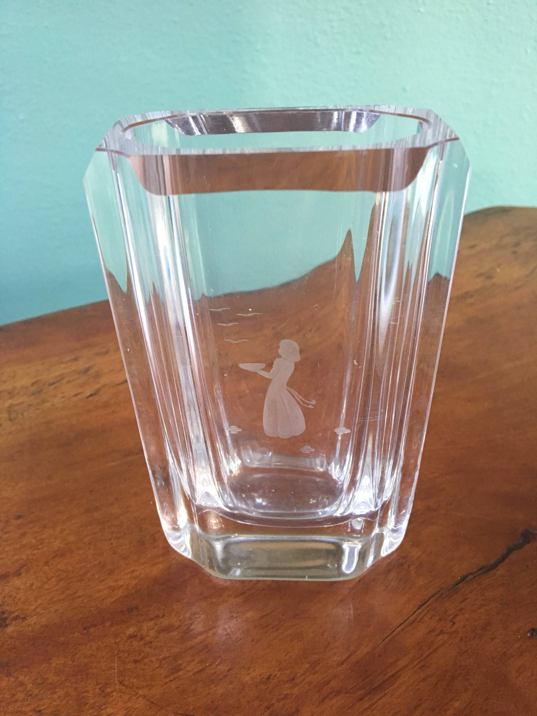 vintage orrefors crystal vase of vintage orrefors skruf crystal vase girl with birds etched etsy for dc29fc294c28ezoom